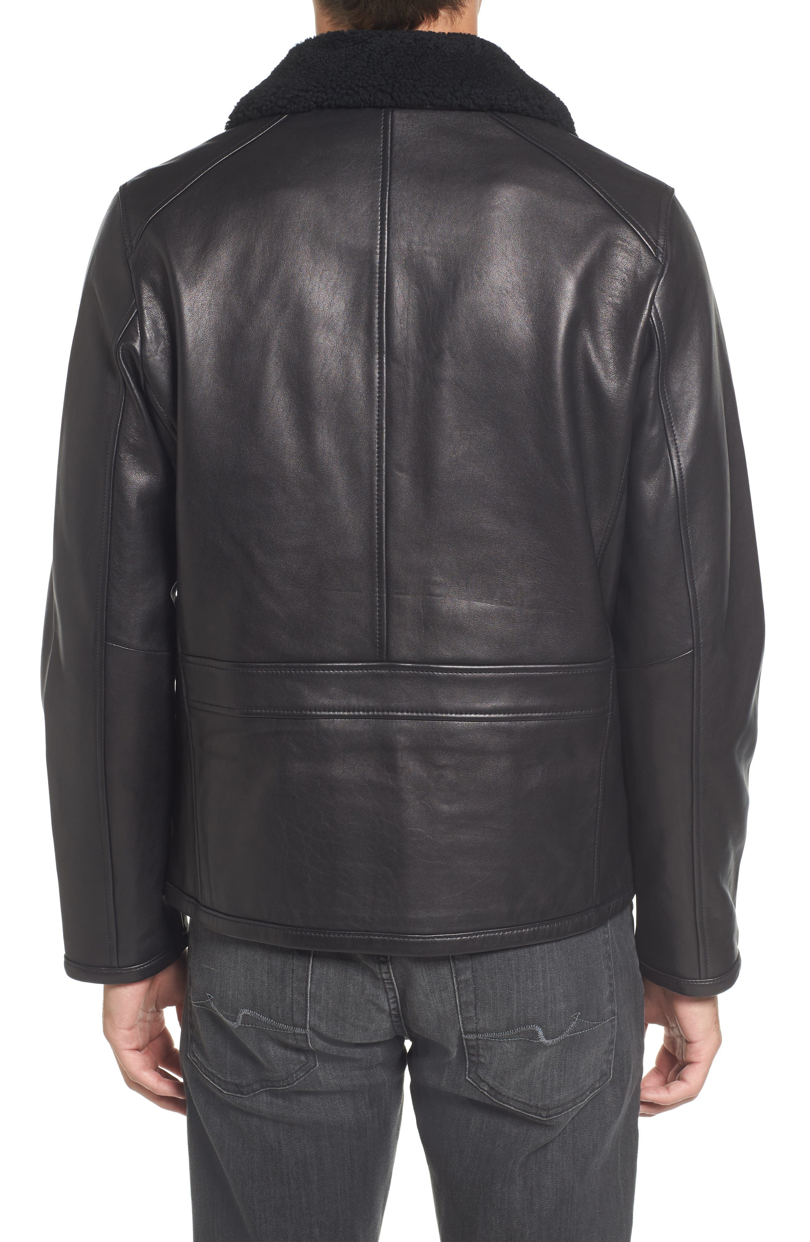 Genuine Shearling Leather Jacket,                             Alternate thumbnail 2, color,                             Black