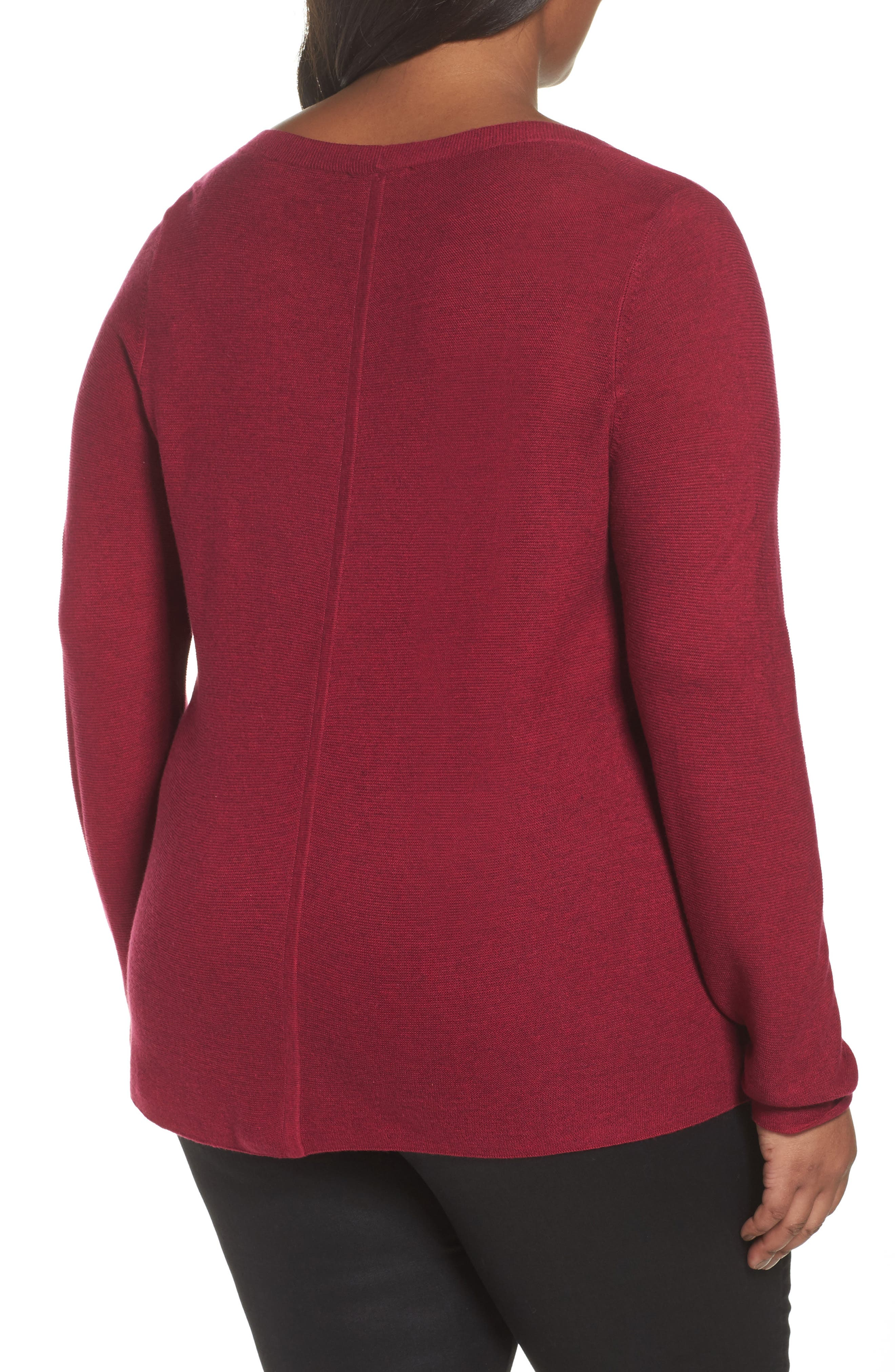 V-Neck Sweater,                             Alternate thumbnail 2, color,                             Hibiscus