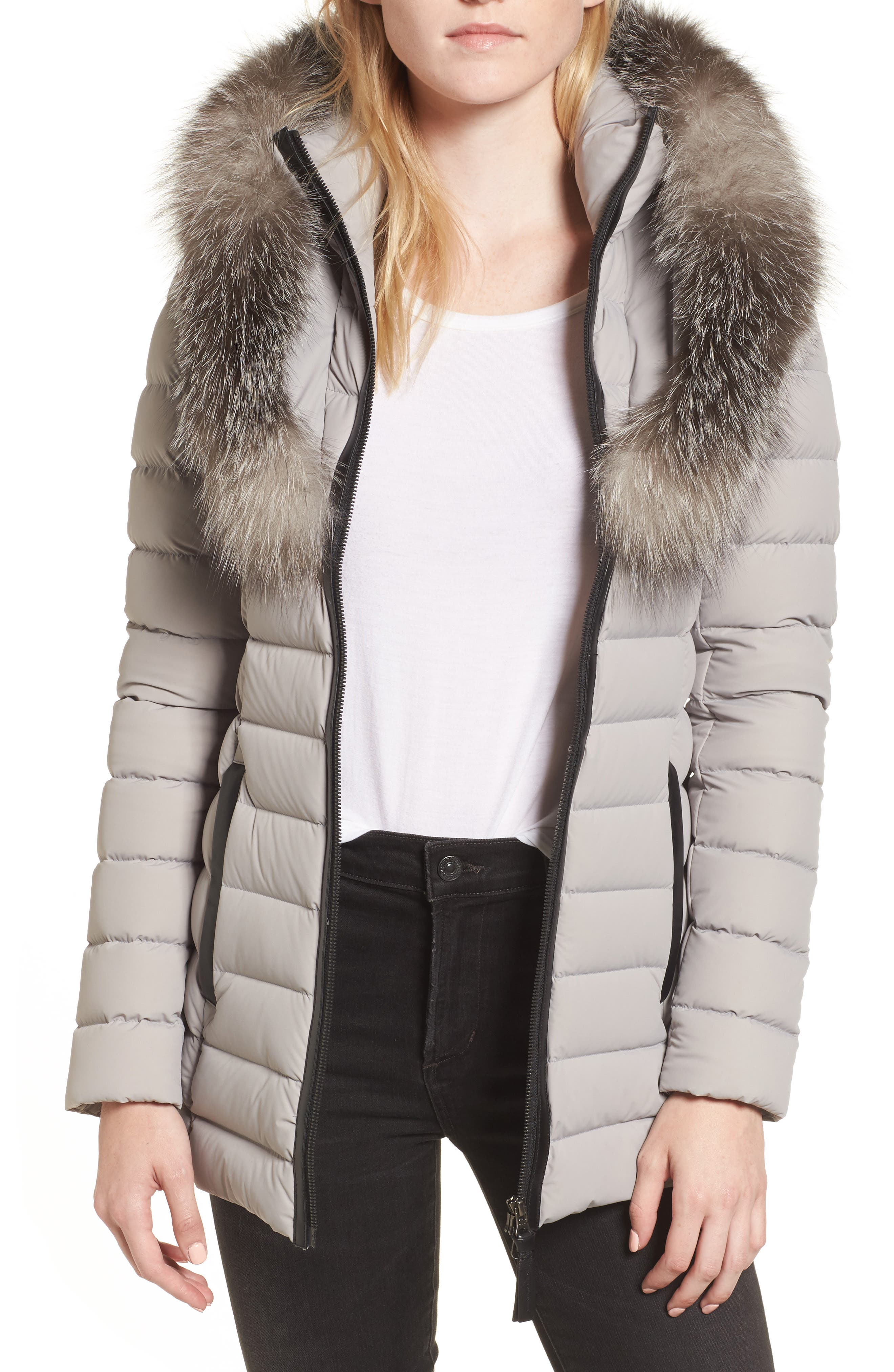 Kadalina Down Jacket with Genuine Fox Fur Trim,                         Main,                         color, Mineral