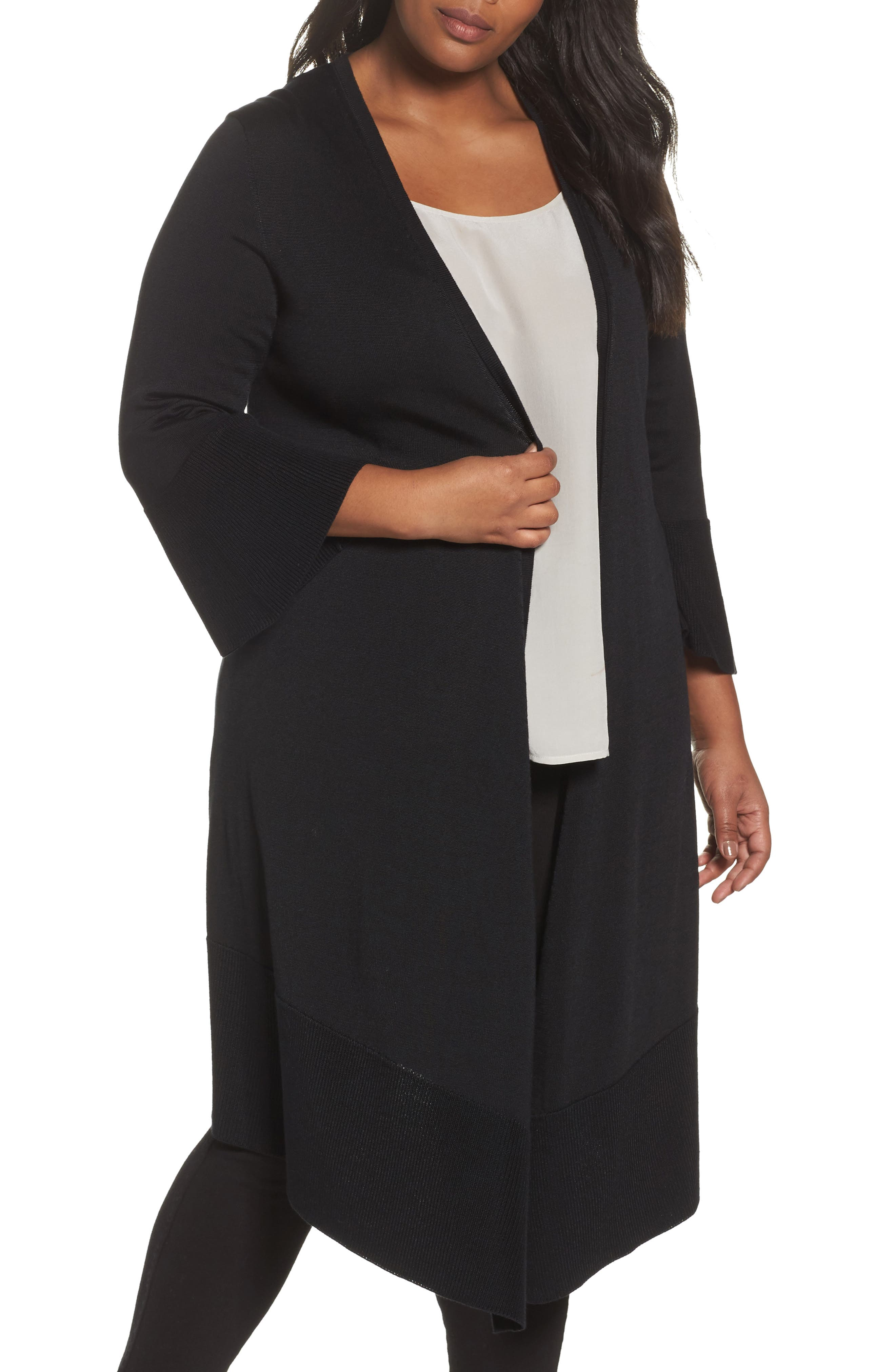 Foxcroft Mila Bell Sleeve Long Cardigan (Plus Size)