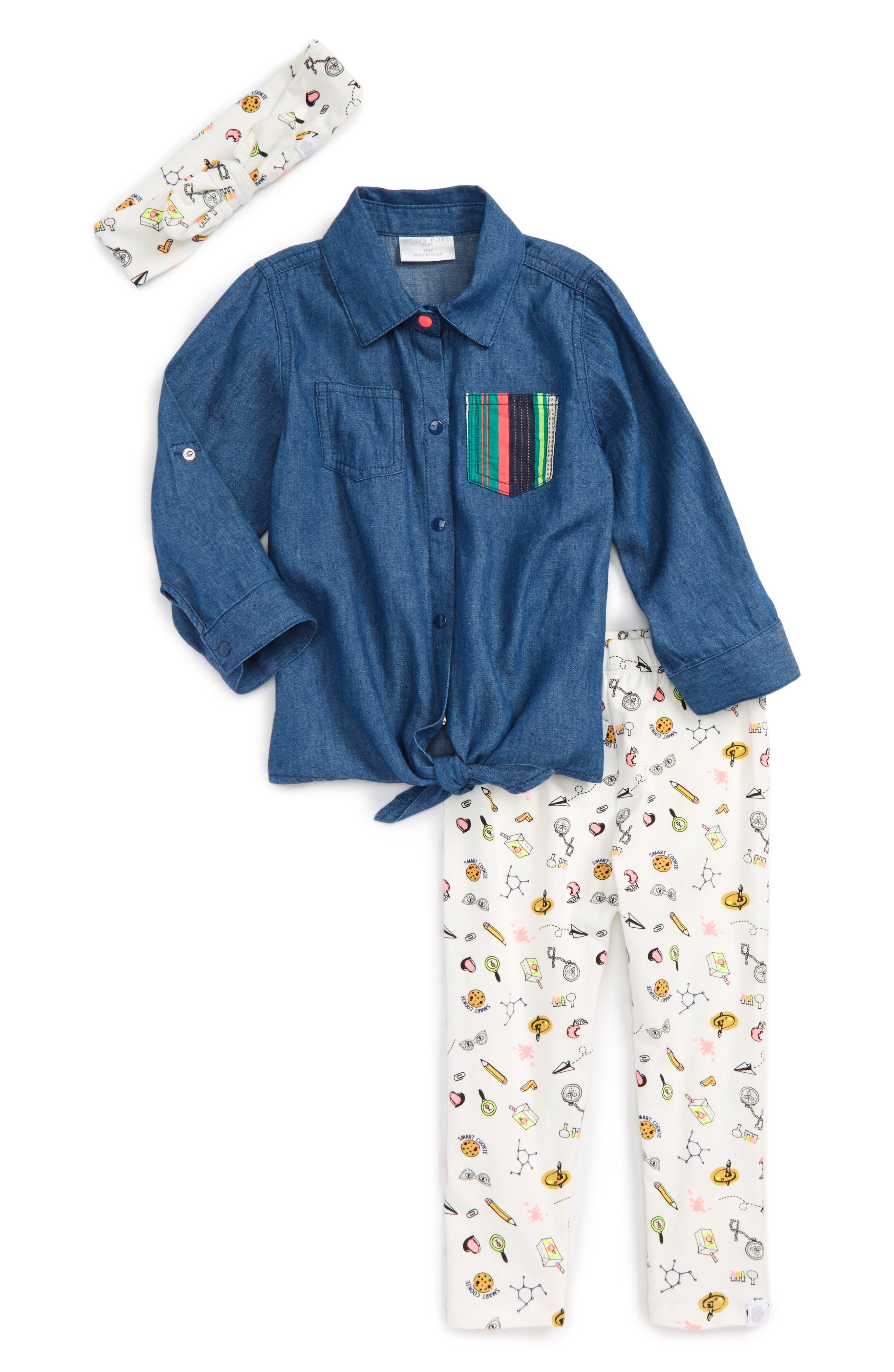 Main Image - Rosie Pope Chambray Top, Print Leggings & Headband Set (Baby Girls)