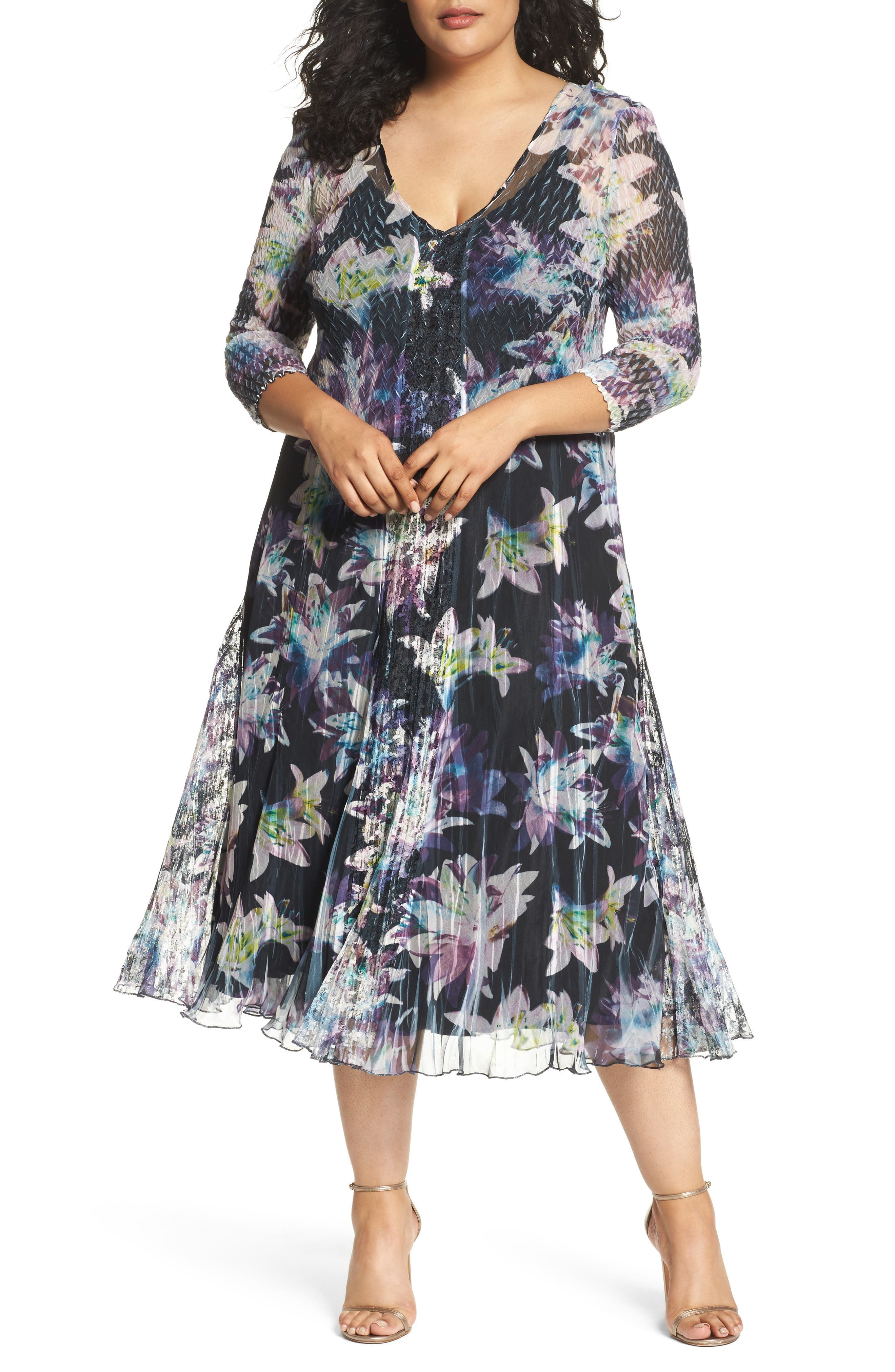 Floral Charmeuse & Chiffon A-Line Dress,                         Main,                         color, Hibiscus Nights