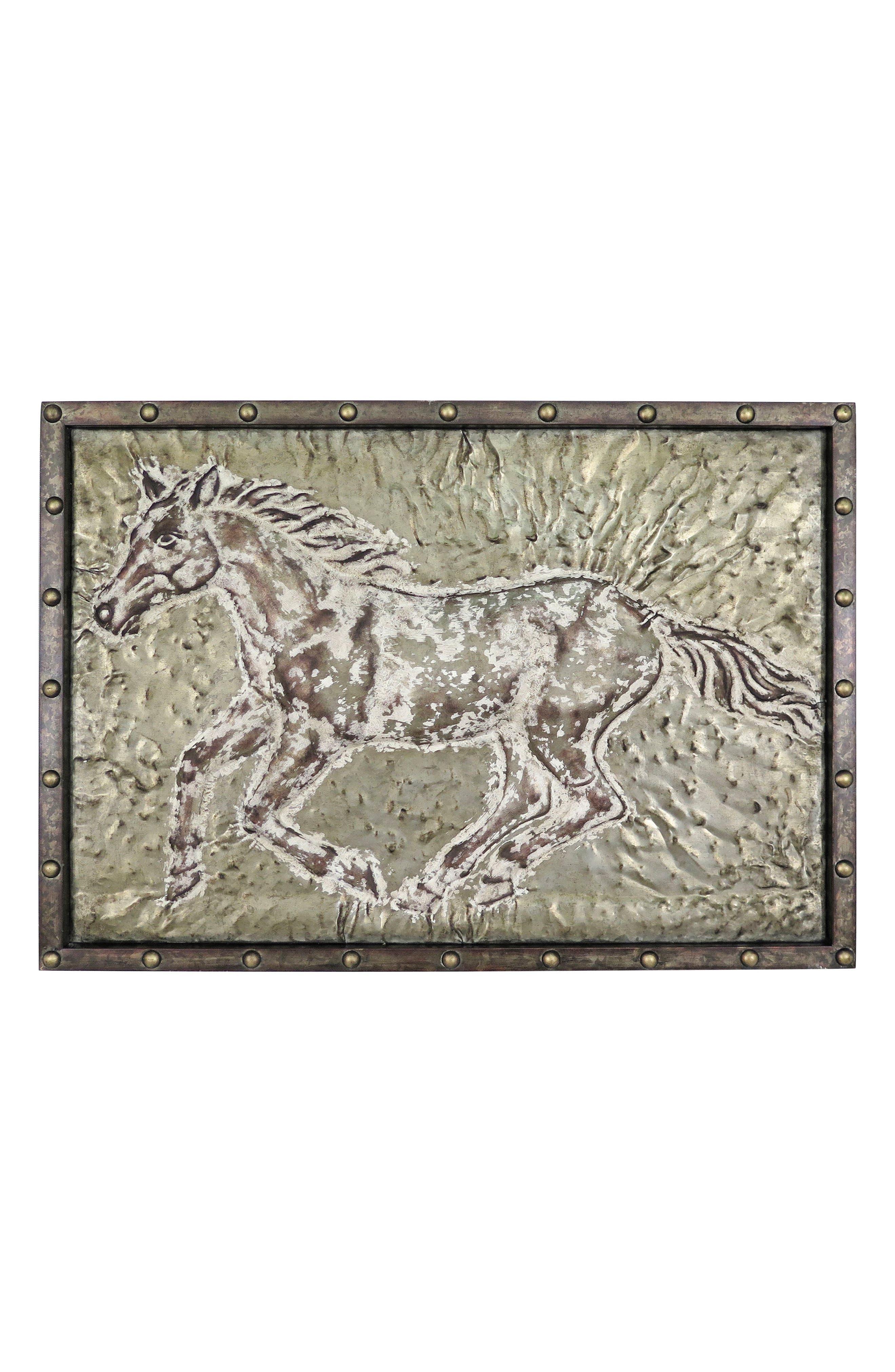 Running Horse Wall Art,                         Main,                         color, Metal