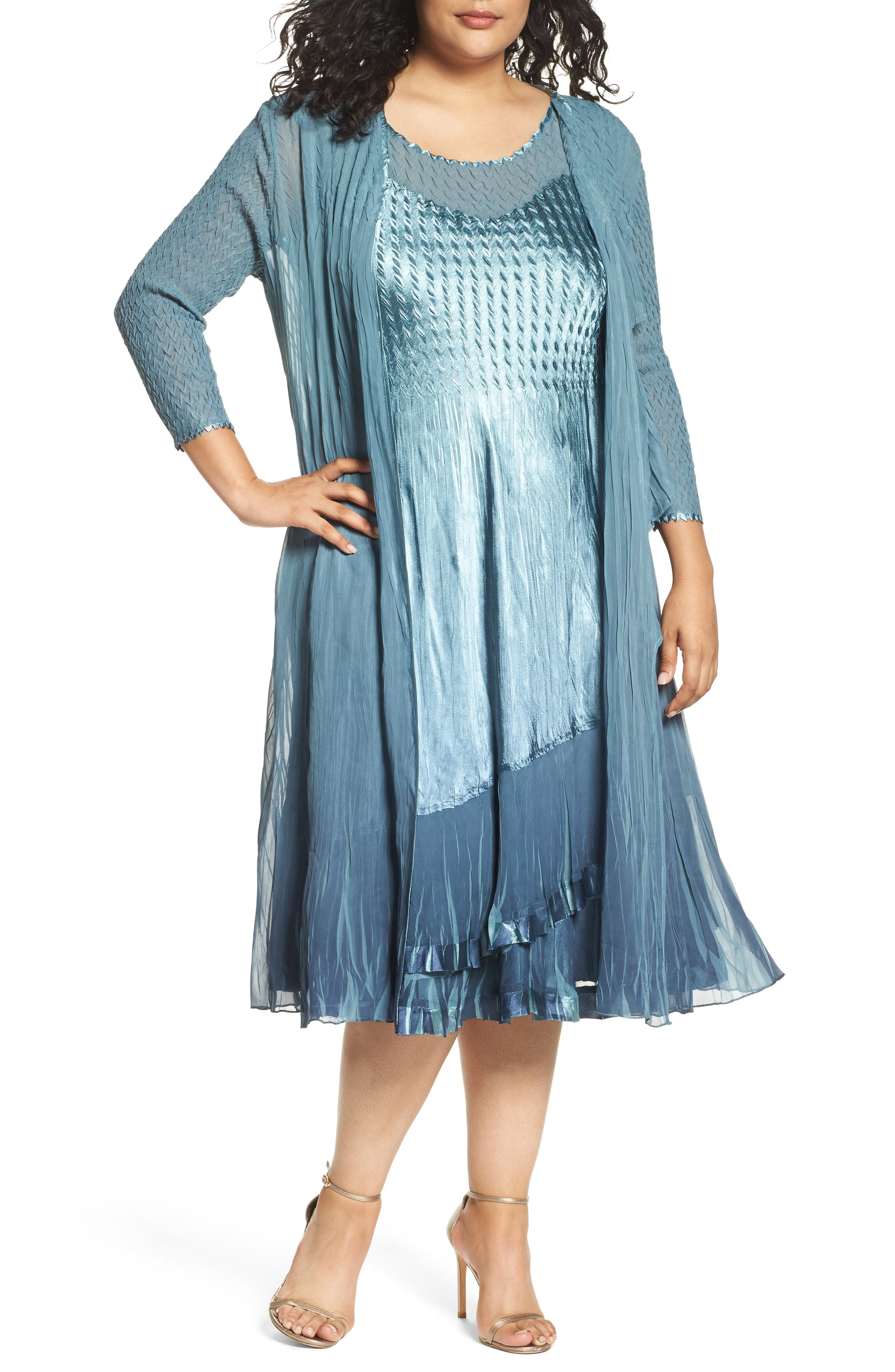 Tiered Dress with Jacket,                         Main,                         color, Silver Blue