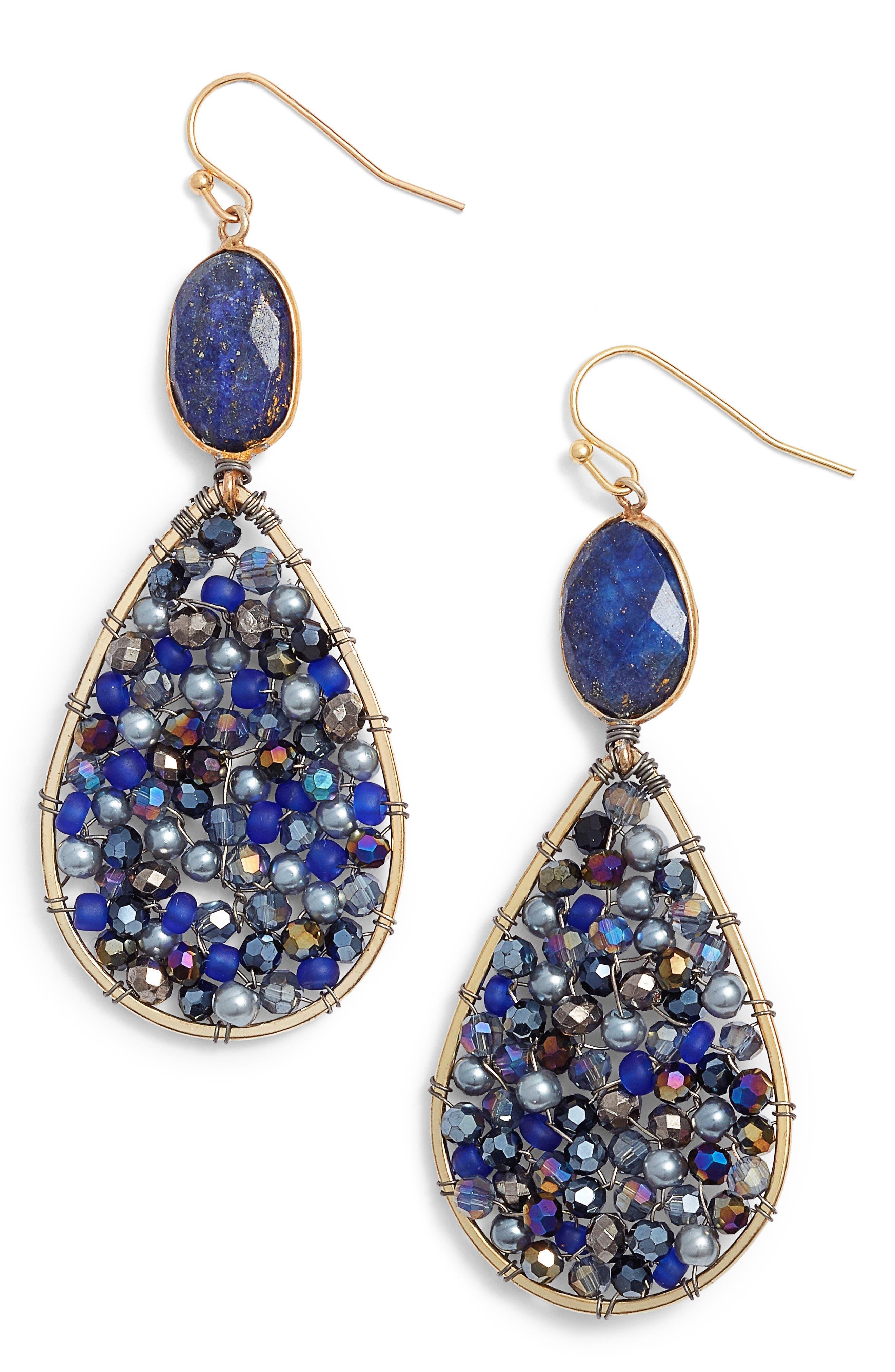 Beaded Teardrop Earrings,                         Main,                         color, Blue