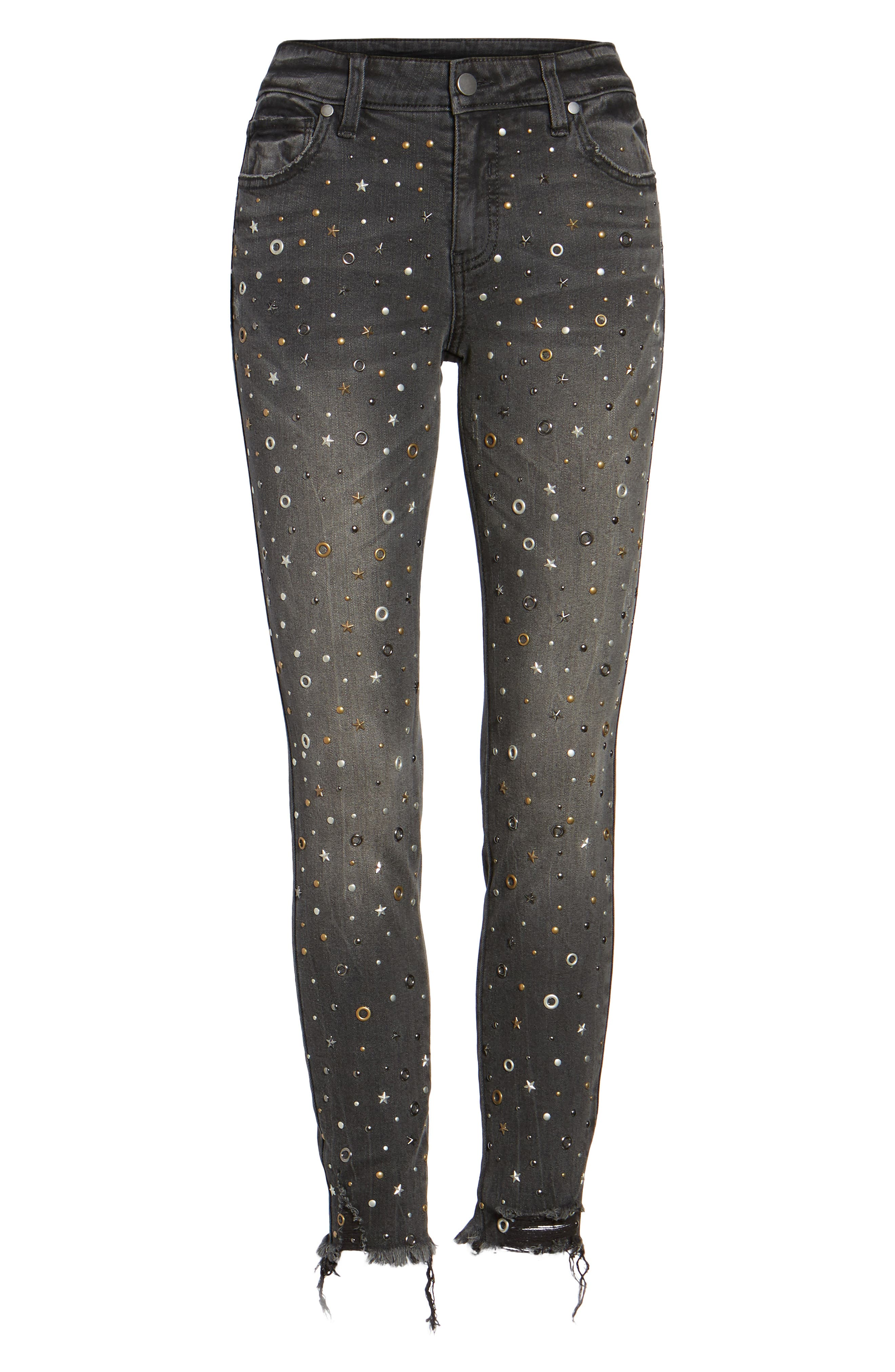 Rock Star Studded Skinny Jeans,                             Alternate thumbnail 6, color,                             Charcoal