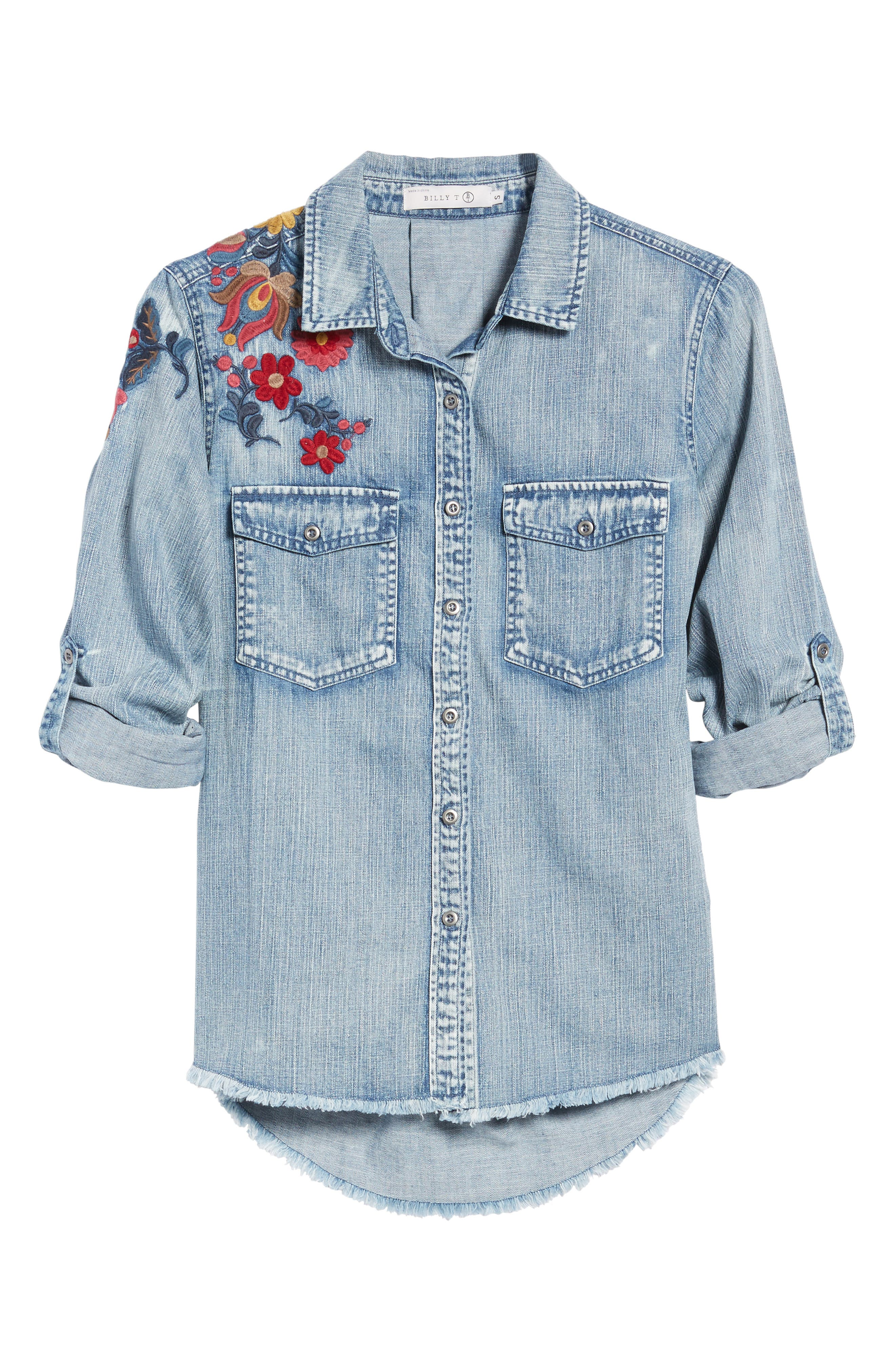 Alternate Image 6  - Billy T Roll Sleeve Embroidered Shirt