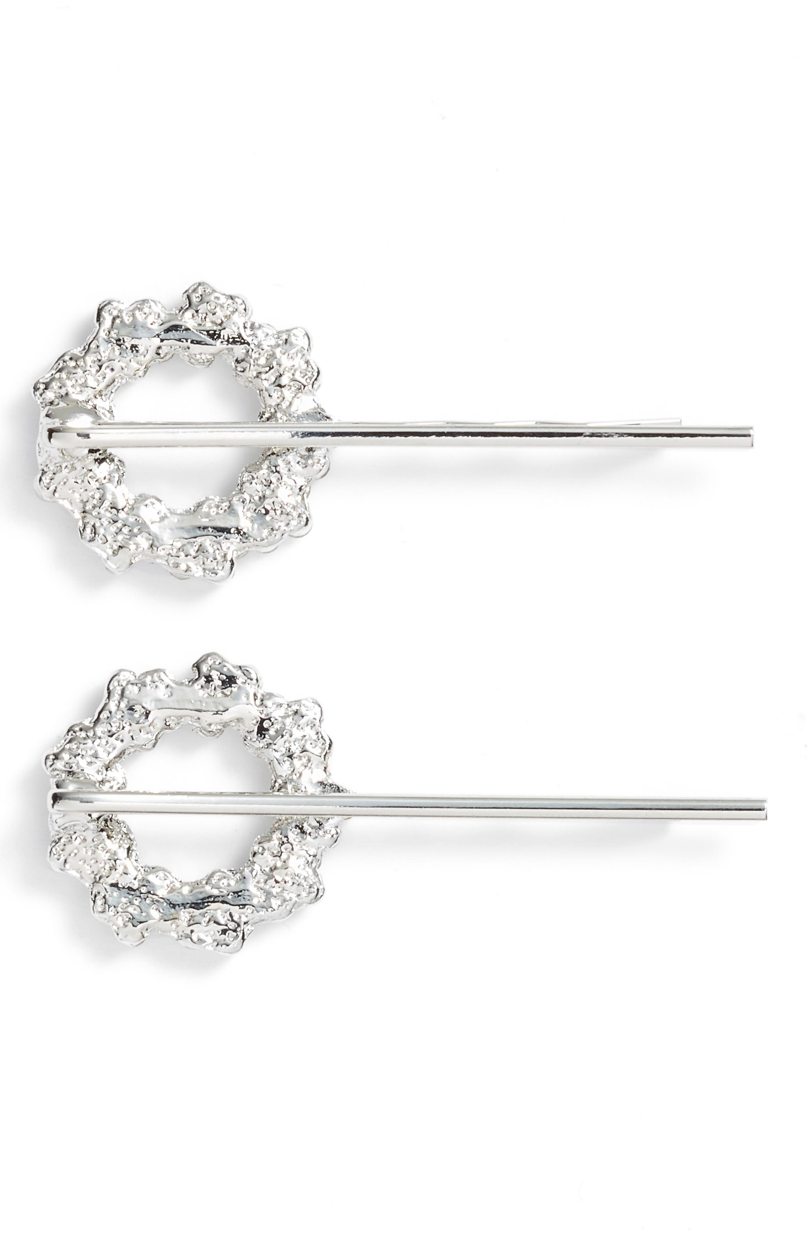 Set of 2 Crystal Flower Wreath Bobby Pins,                             Alternate thumbnail 2, color,                             Silver