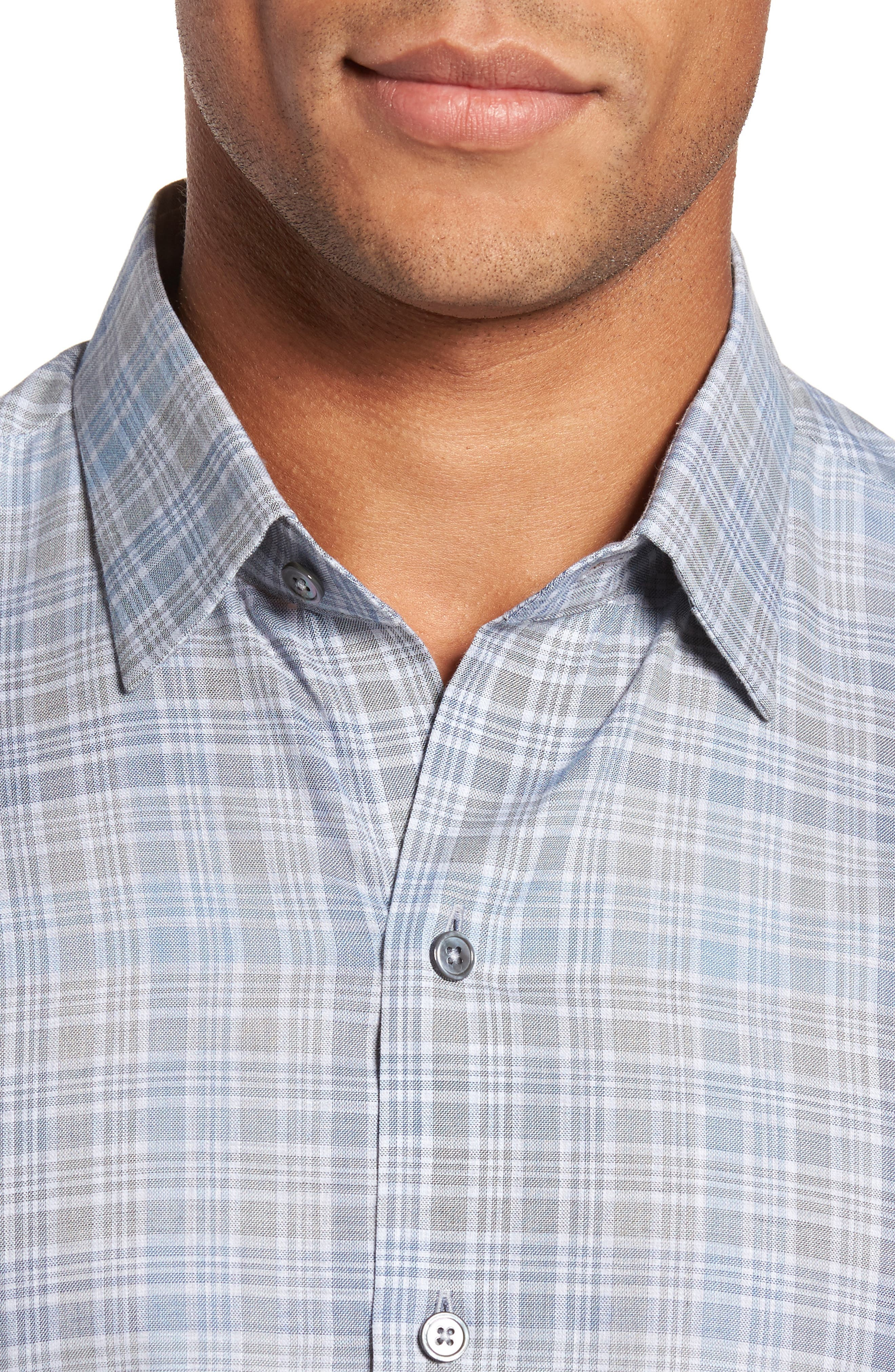 Johannes Slim Fit Plaid Sport Shirt,                             Alternate thumbnail 4, color,                             Light Grey