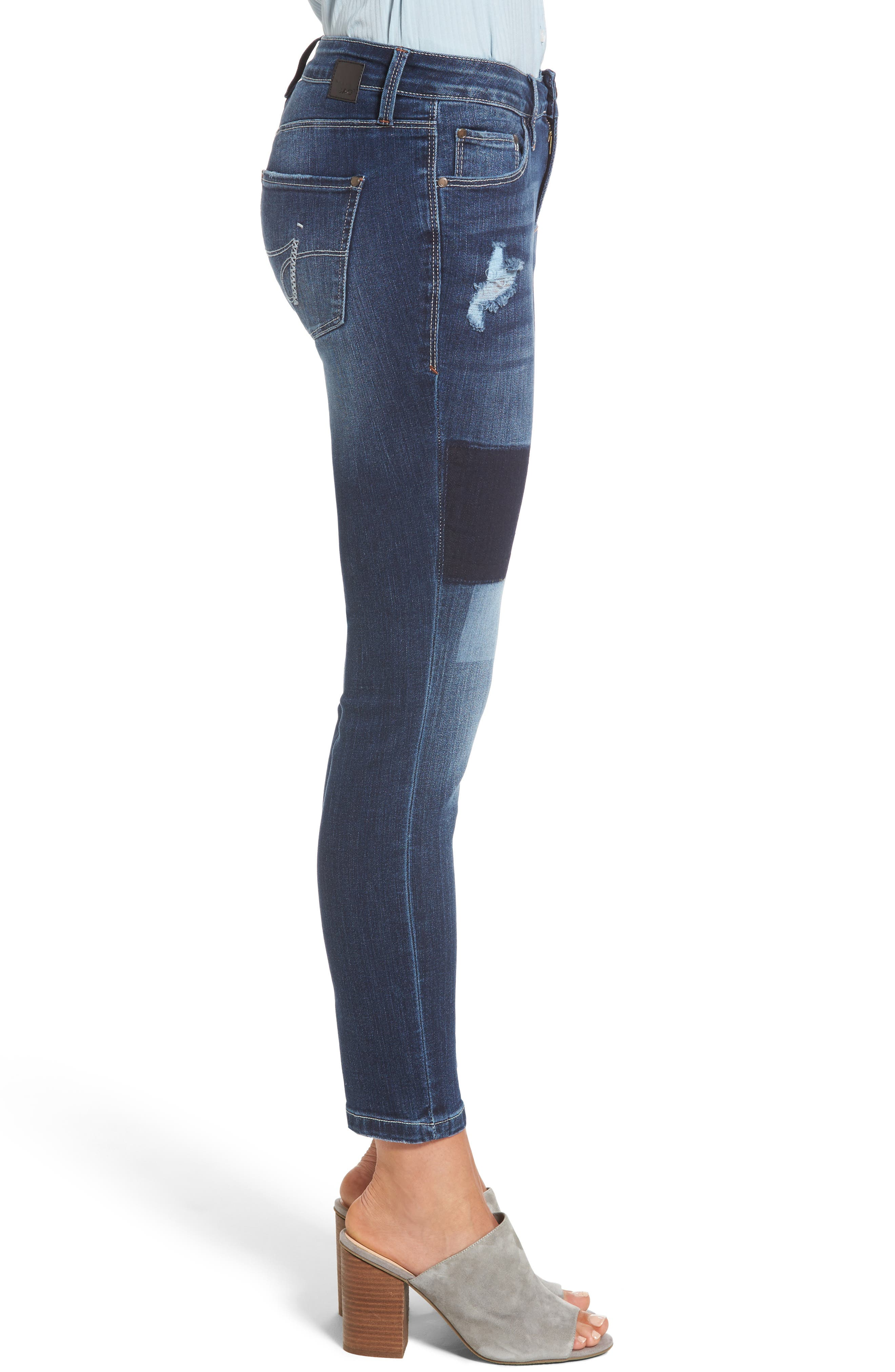 Mera Skinny Ankle Jeans,                             Alternate thumbnail 3, color,                             Bucket Blue