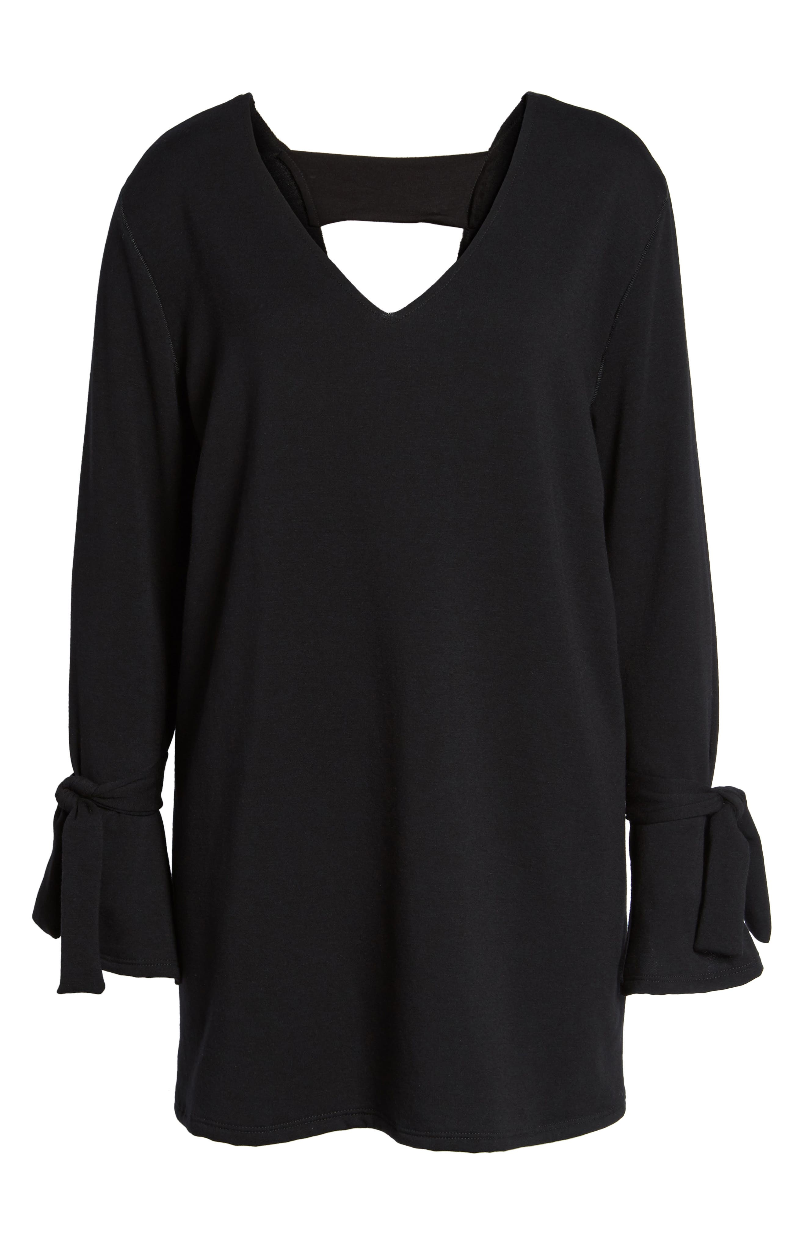 Tie Sleeve Shift Dress,                             Alternate thumbnail 6, color,                             Black