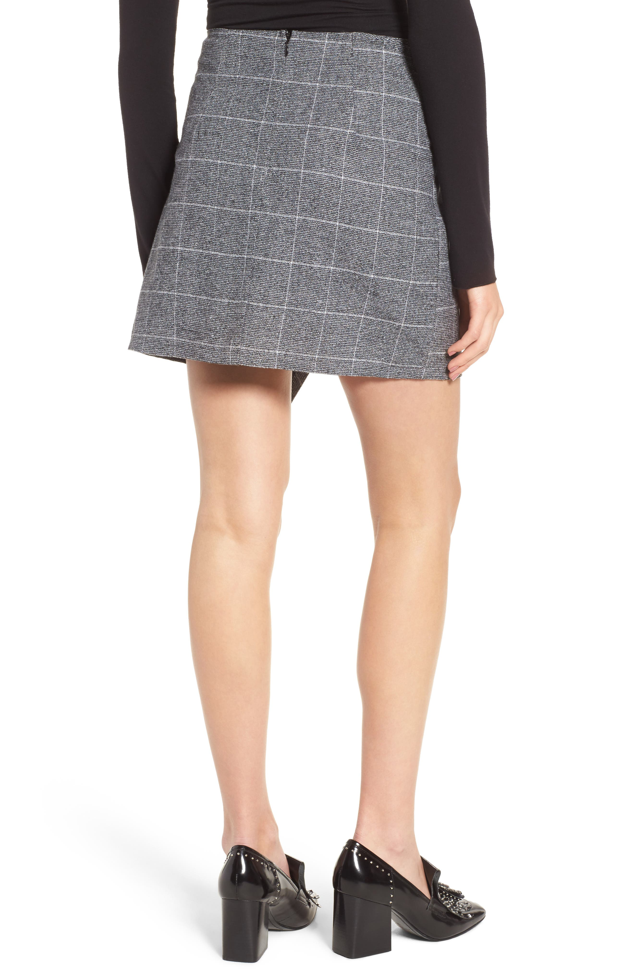 Faux Wrap Miniskirt,                             Alternate thumbnail 2, color,                             Black Plaid