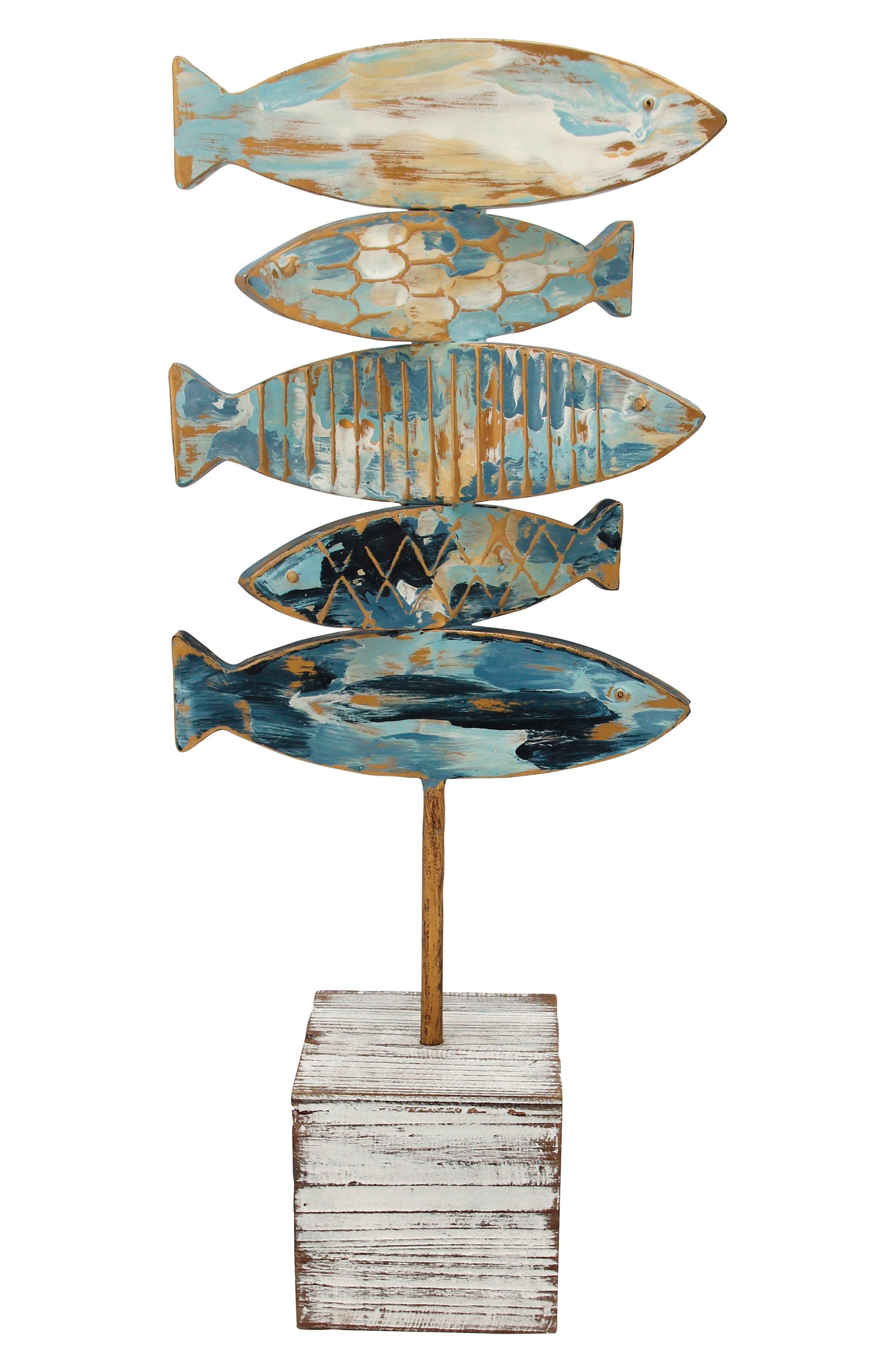 Fish Table Art,                         Main,                         color, Wood/ Metal
