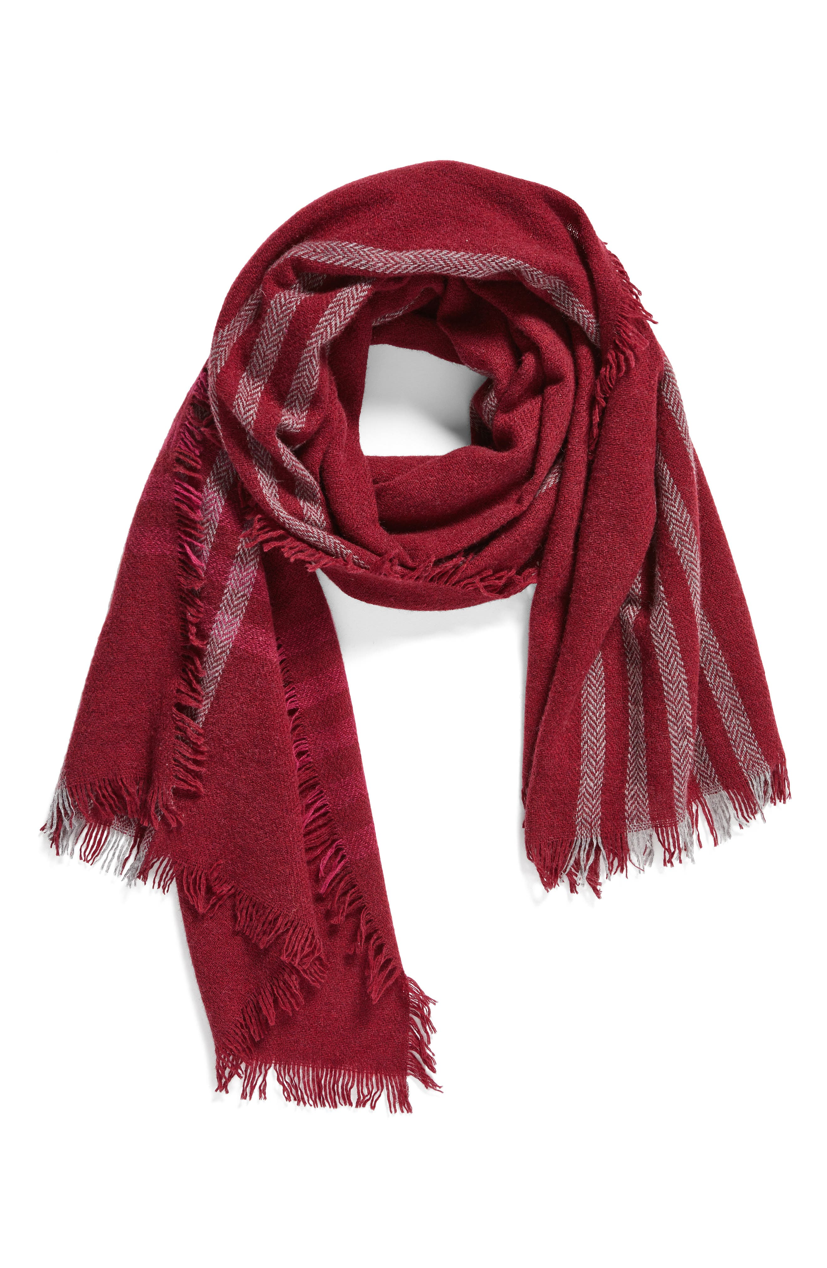 Plaid Wool Blend Scarf,                             Alternate thumbnail 4, color,                             Hibiscus