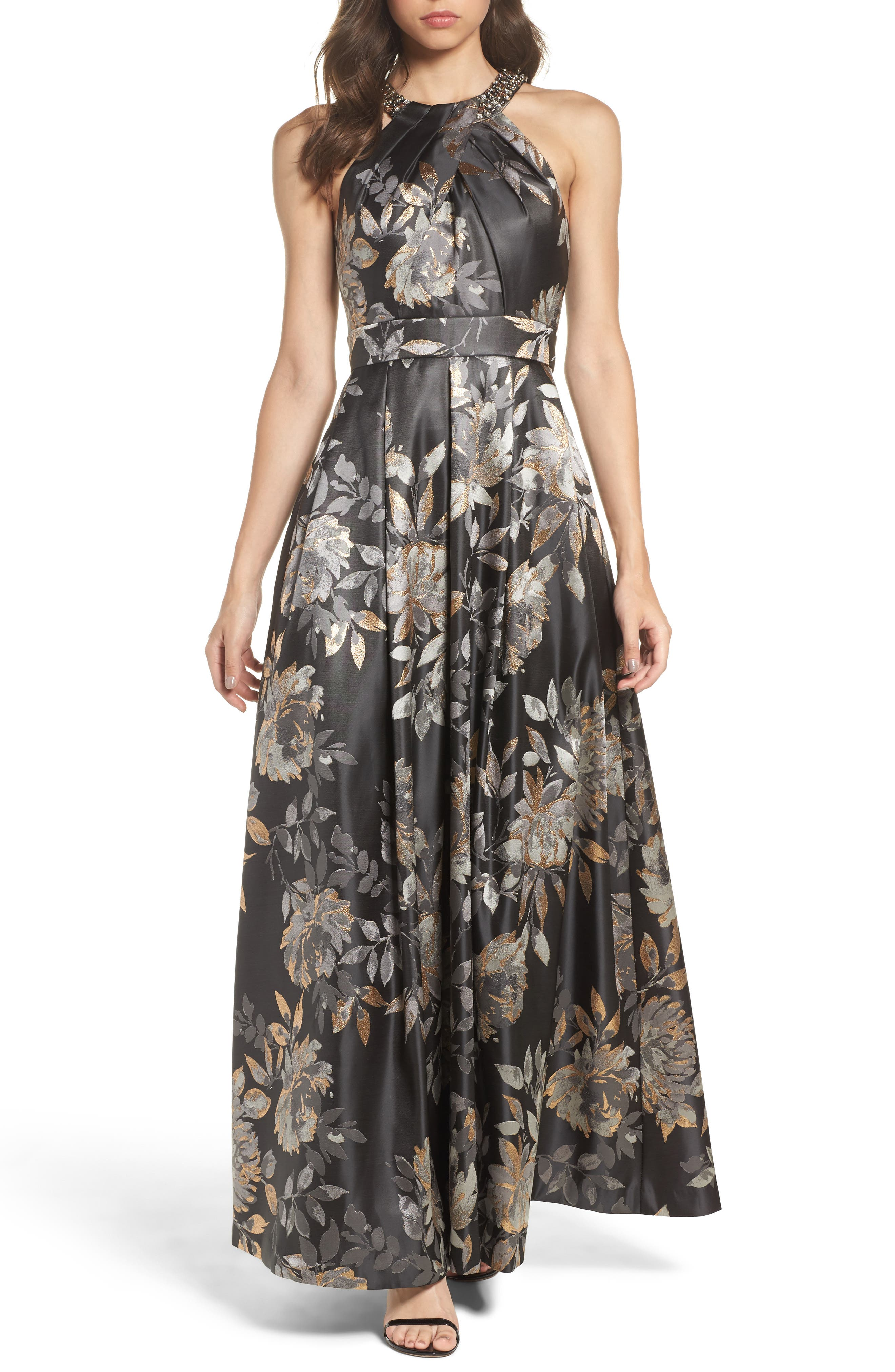 Womens empire waist dresses nordstrom eliza j embellished pleated jacquard ballgown ombrellifo Gallery