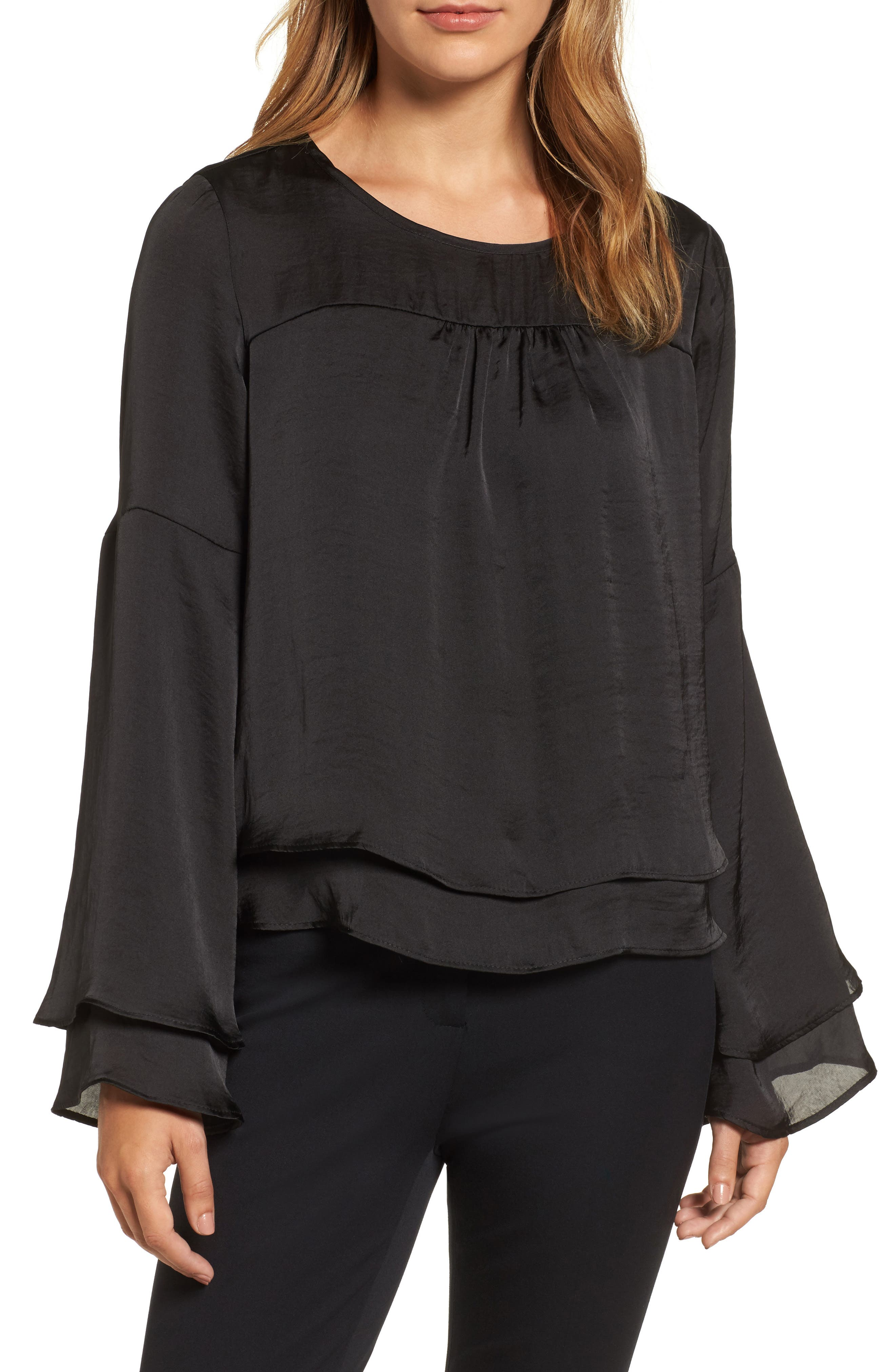 Bell Sleeve Hammered Satin Blouse,                             Main thumbnail 1, color,                             Black