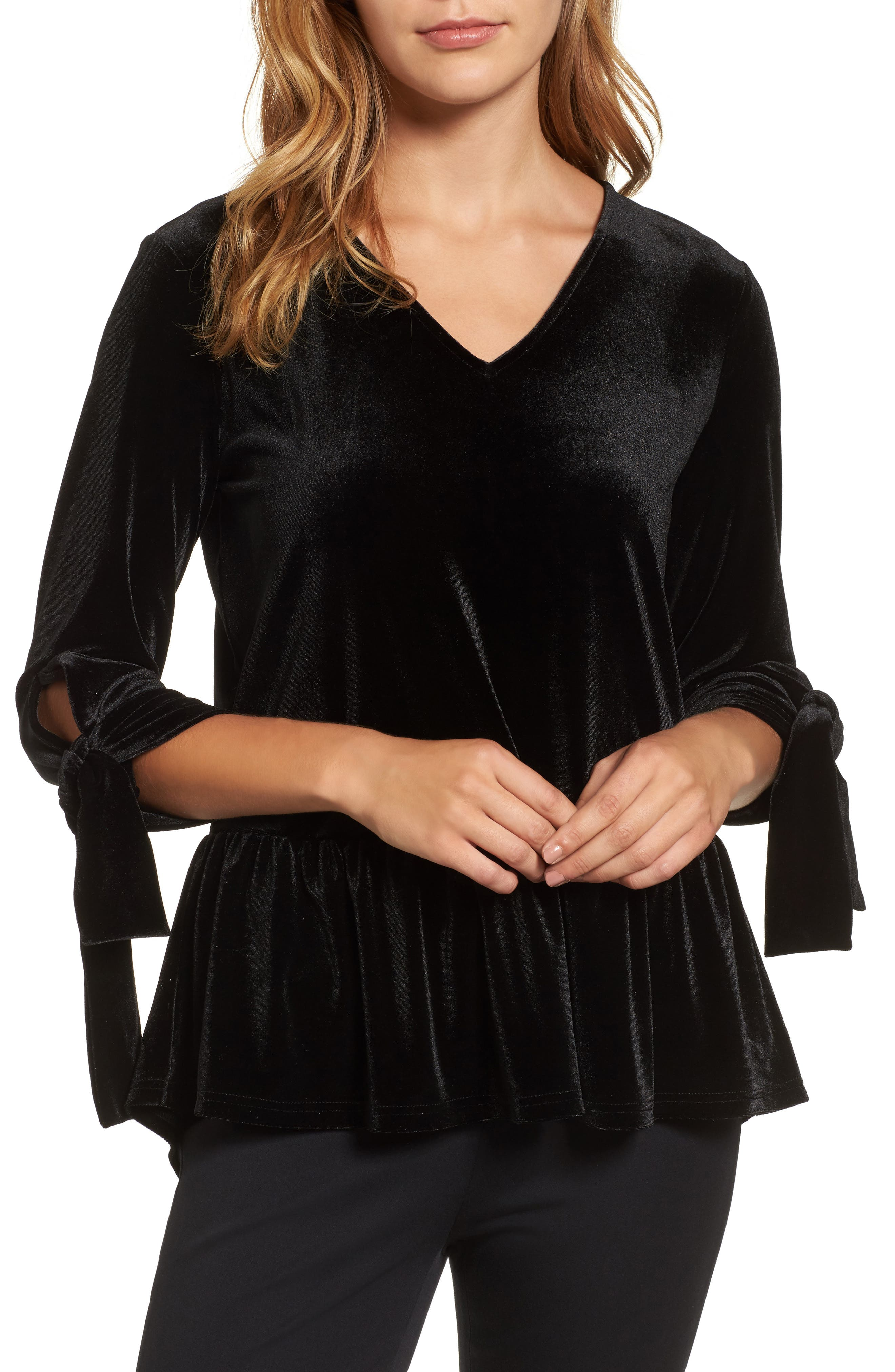 Tie Sleeve Velvet Top,                         Main,                         color, Black