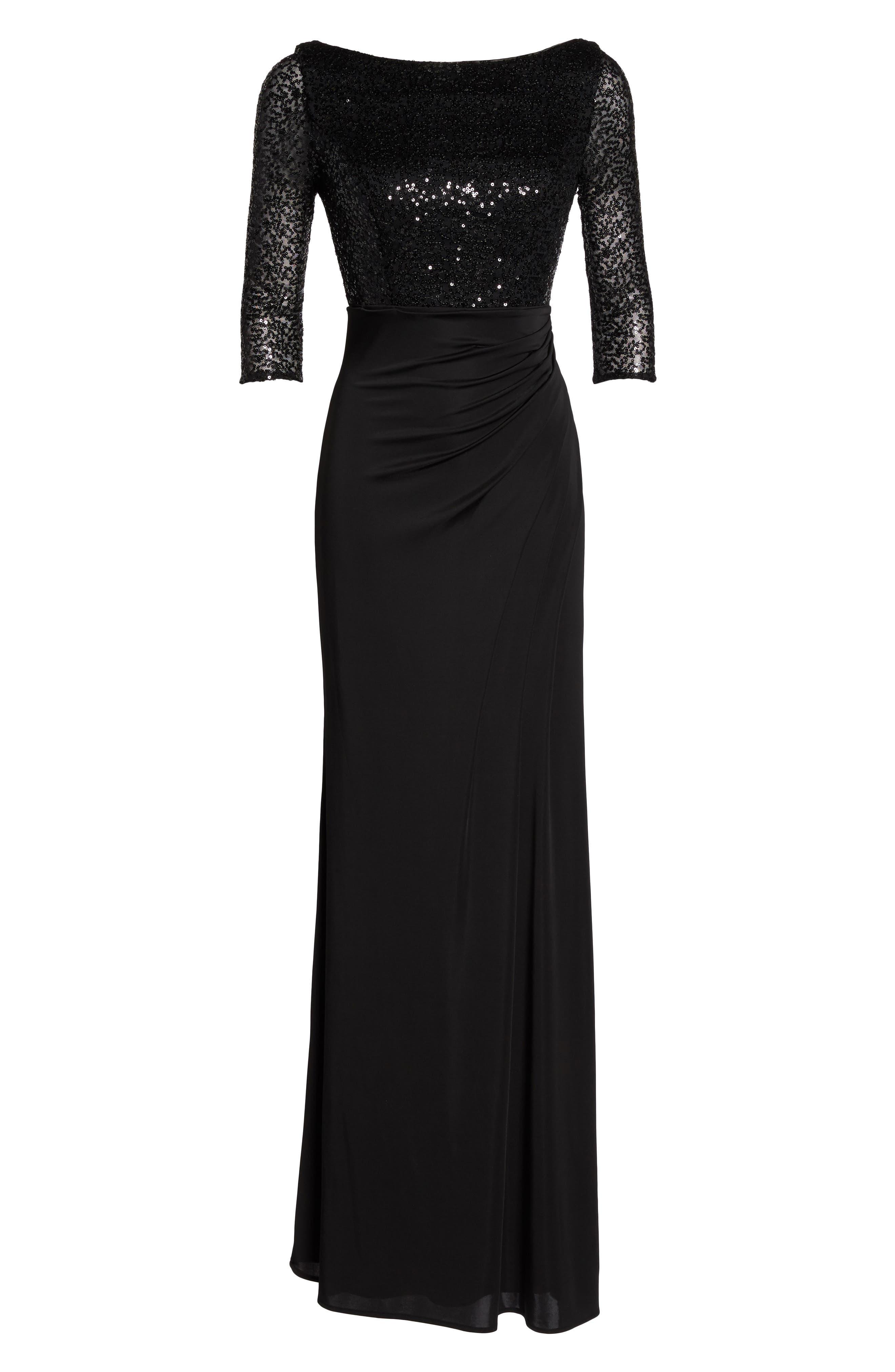 Sequin & Jersey Gown,                             Alternate thumbnail 6, color,                             Black