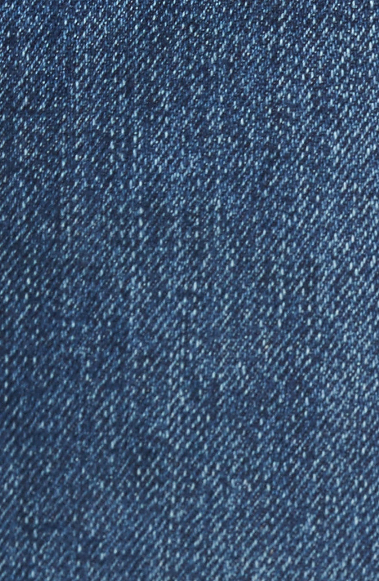 Otis Straight Fit Crop Jeans,                             Alternate thumbnail 5, color,                             Worn Mid Blue Raw Hem