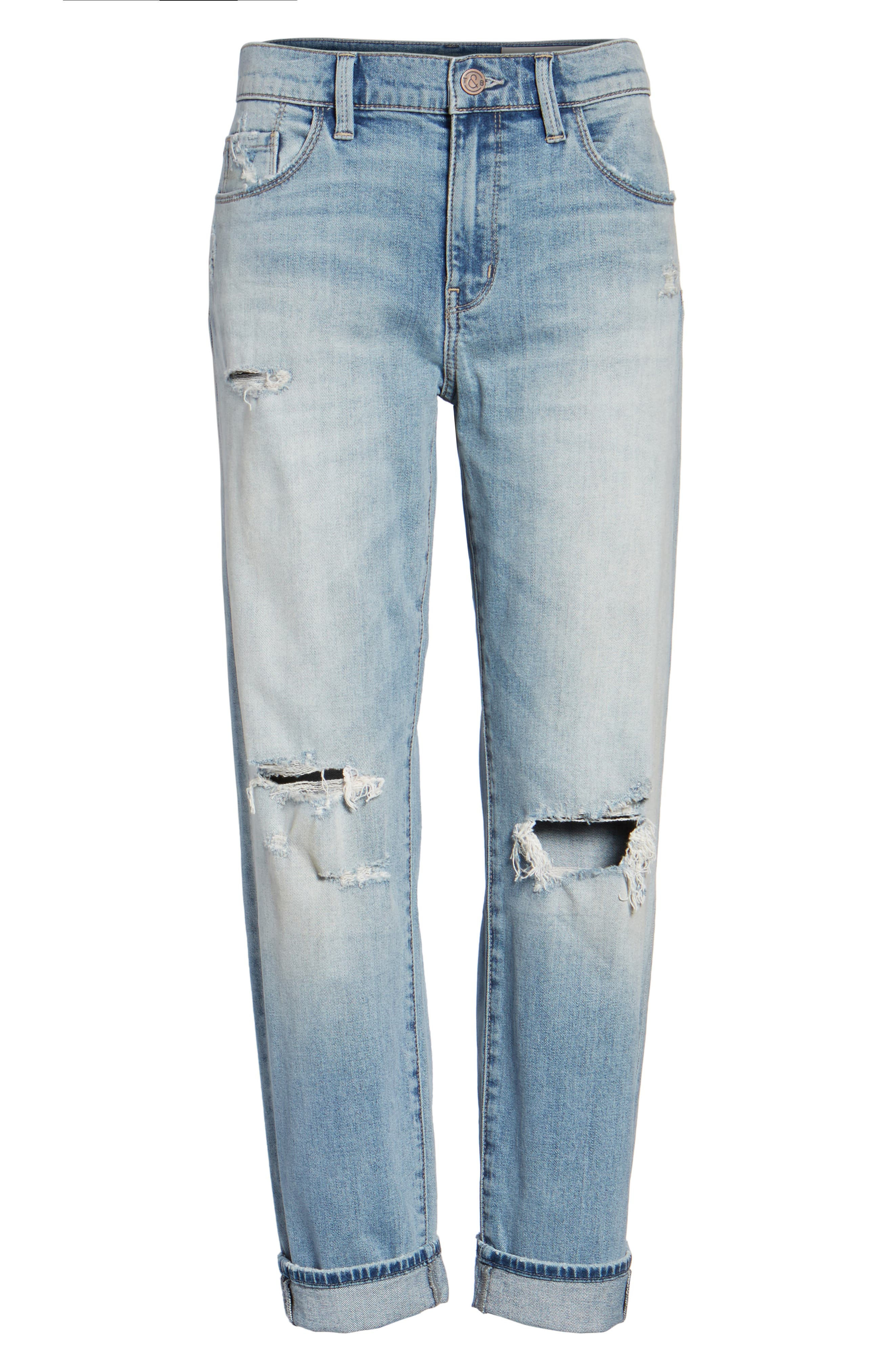 Alternate Image 6  - Treasure & Bond Ripped Relaxed Fit Jeans (Gravel Light Destroy)