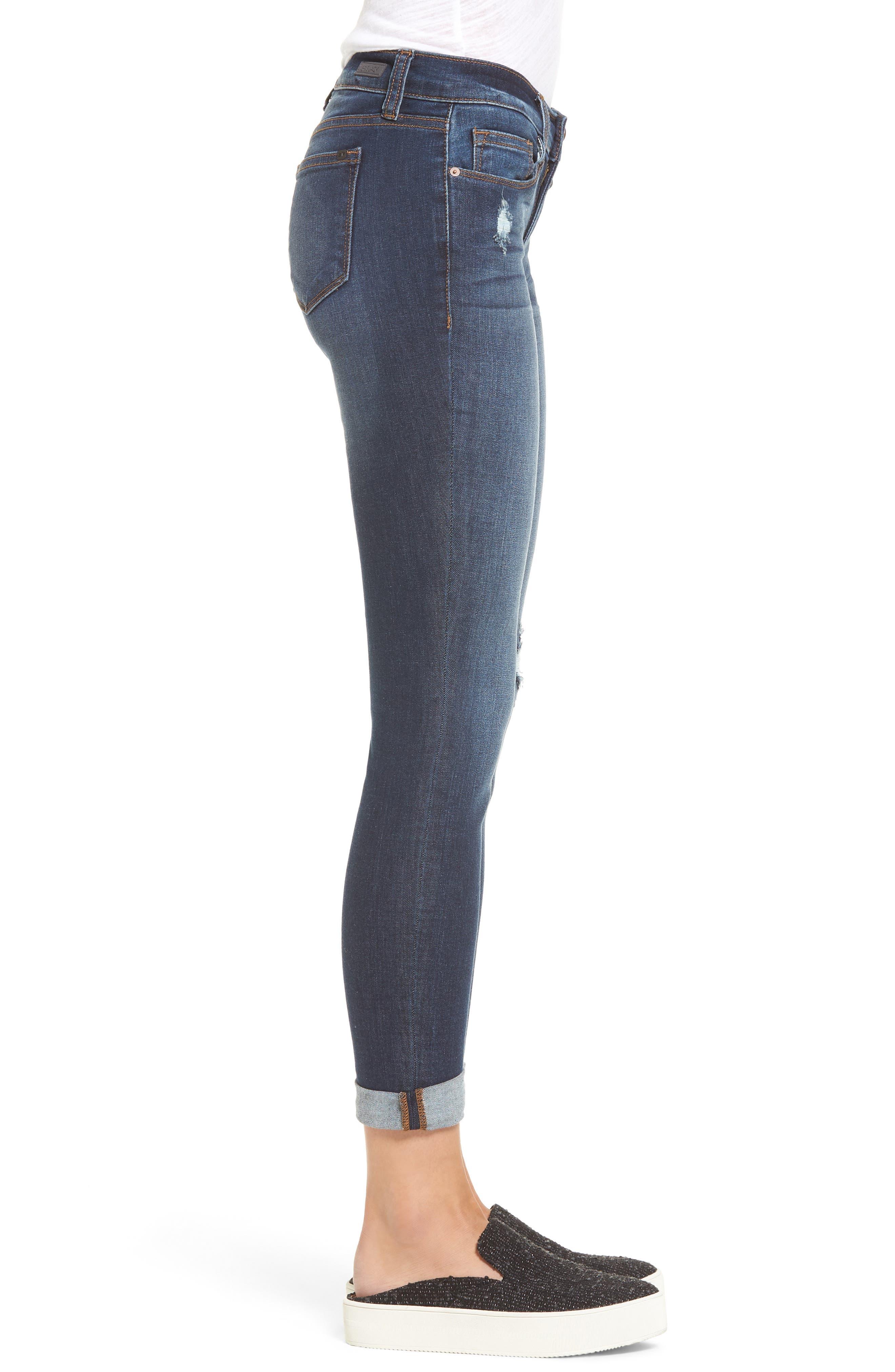 Roll Cuff Skinny Jeans,                             Alternate thumbnail 3, color,                             Dark Wash