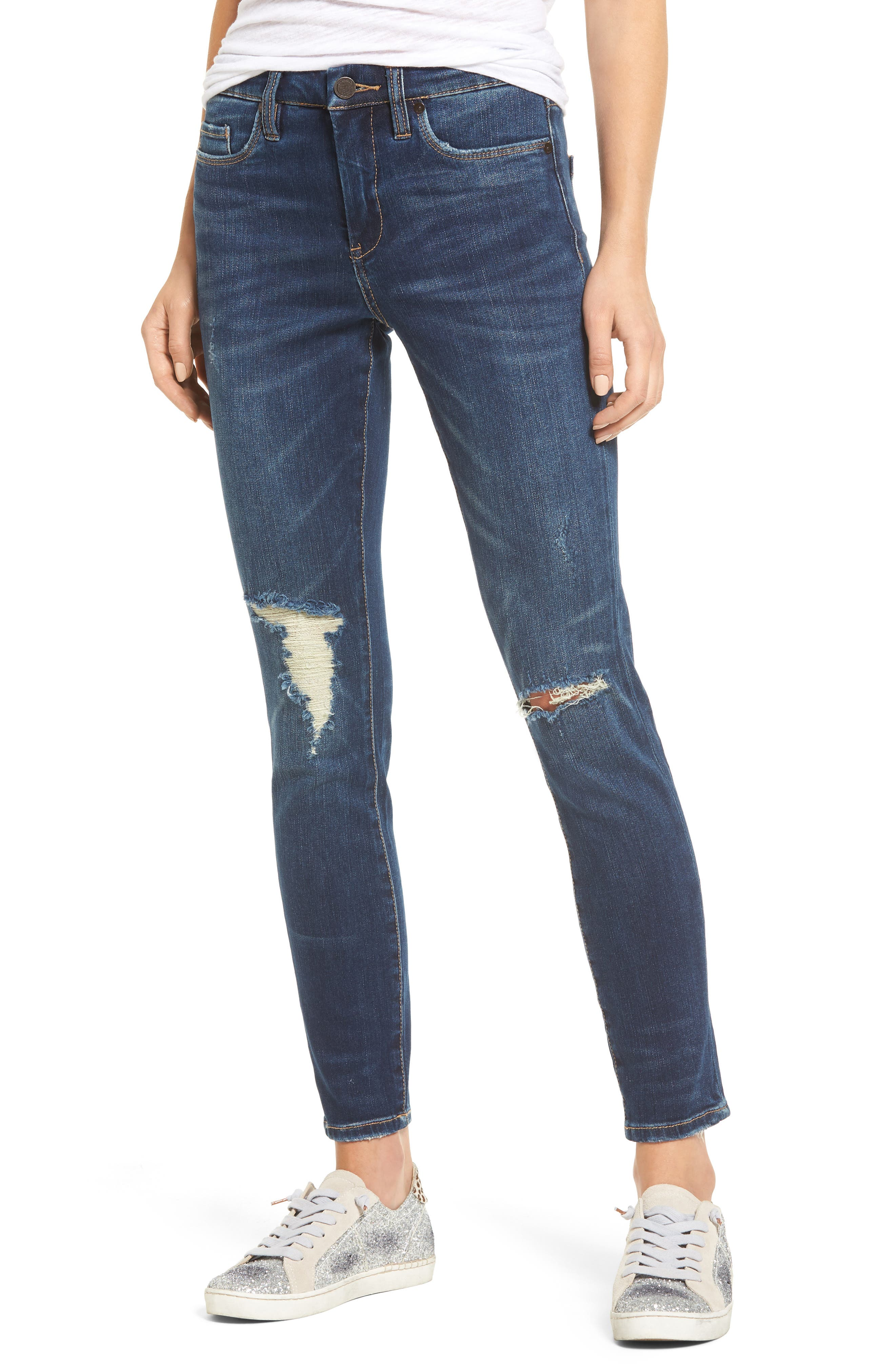 Alternate Image 1 Selected - BLANKNYC Ripped Ankle Skinny Jeans (Fresh Brew)
