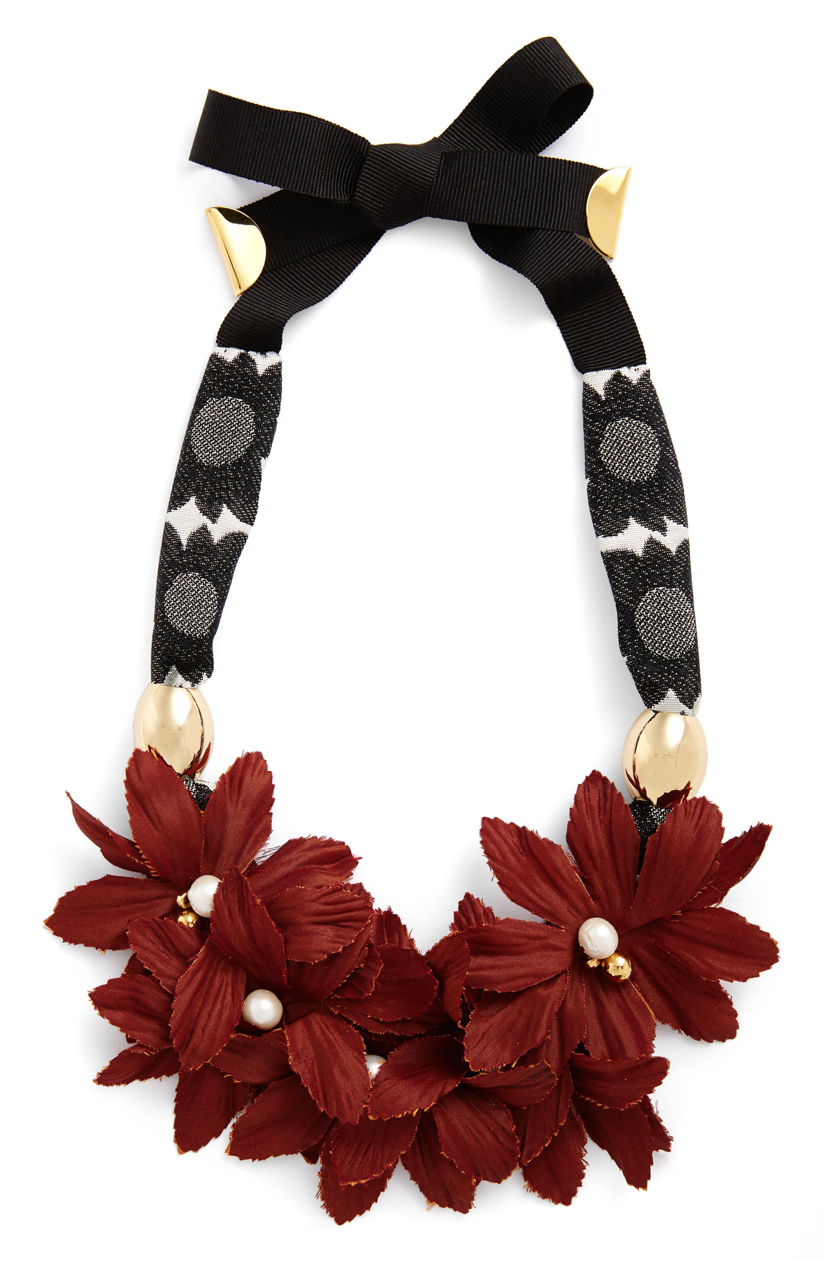 Samburo Floral Collar Necklace,                         Main,                         color, Red