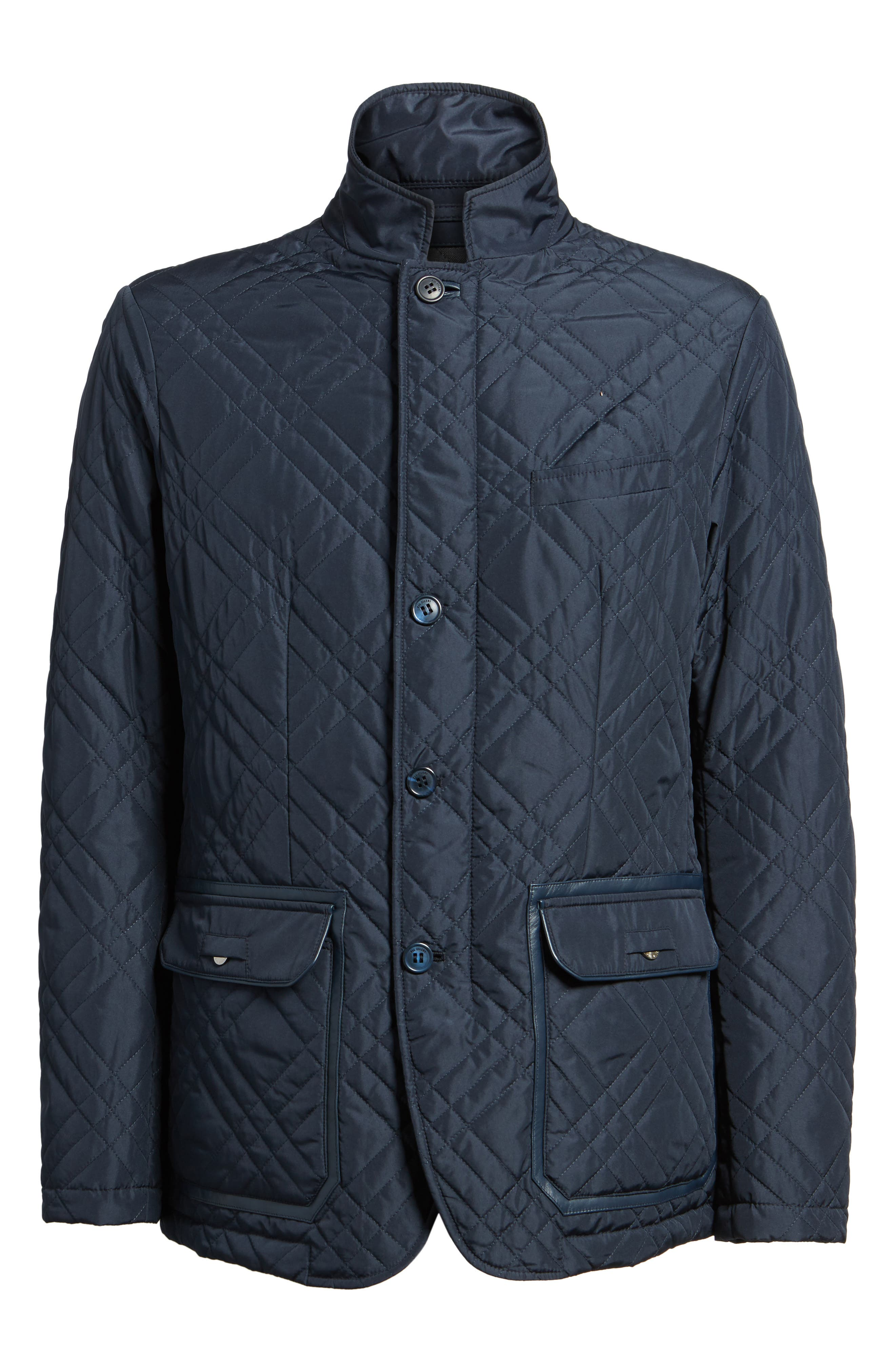 Quilted Field Jacket,                             Alternate thumbnail 6, color,                             Blue Navy