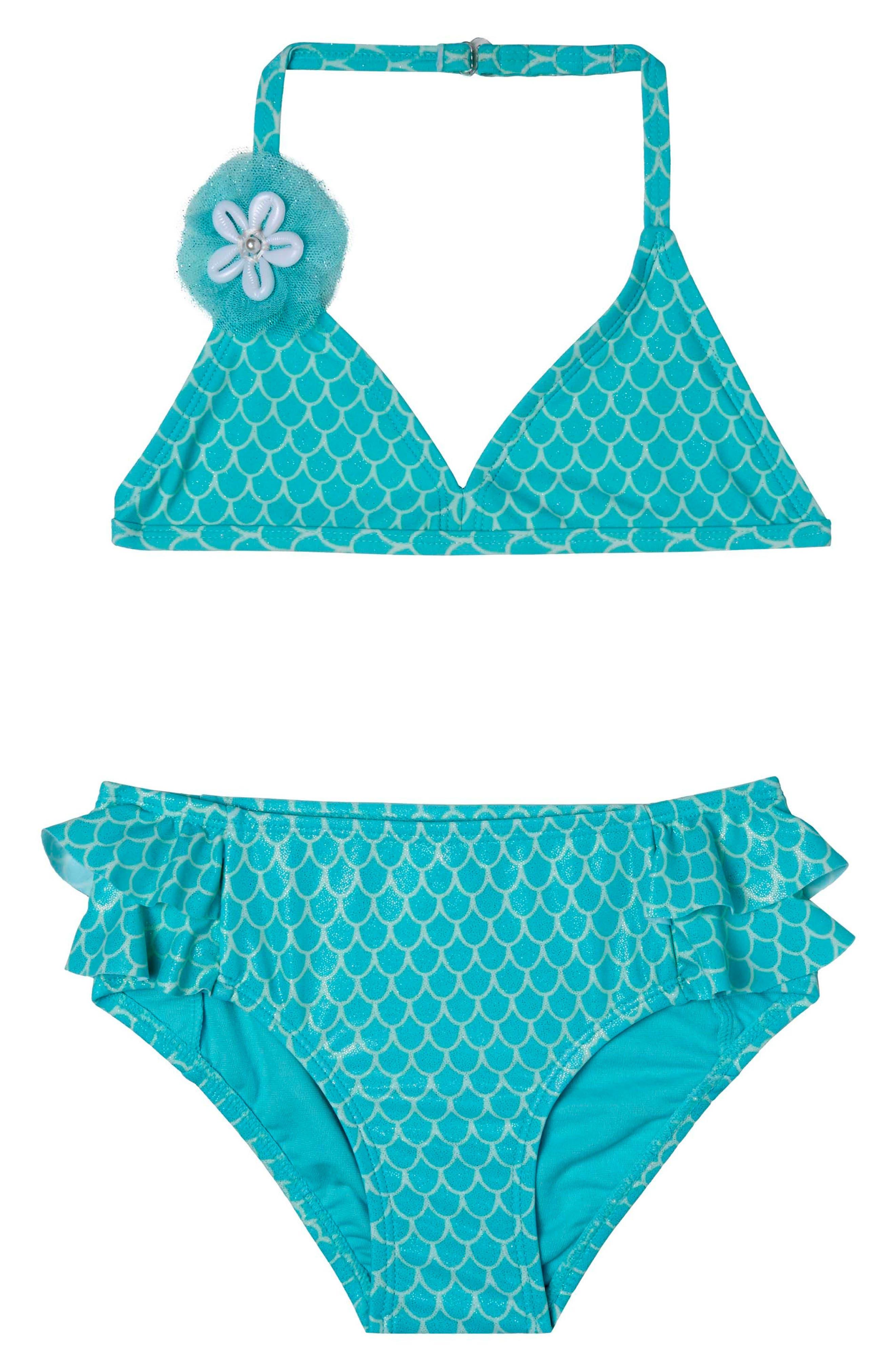 Mermaid Princess Two-Piece Swimsuit,                             Main thumbnail 1, color,                             Aqua