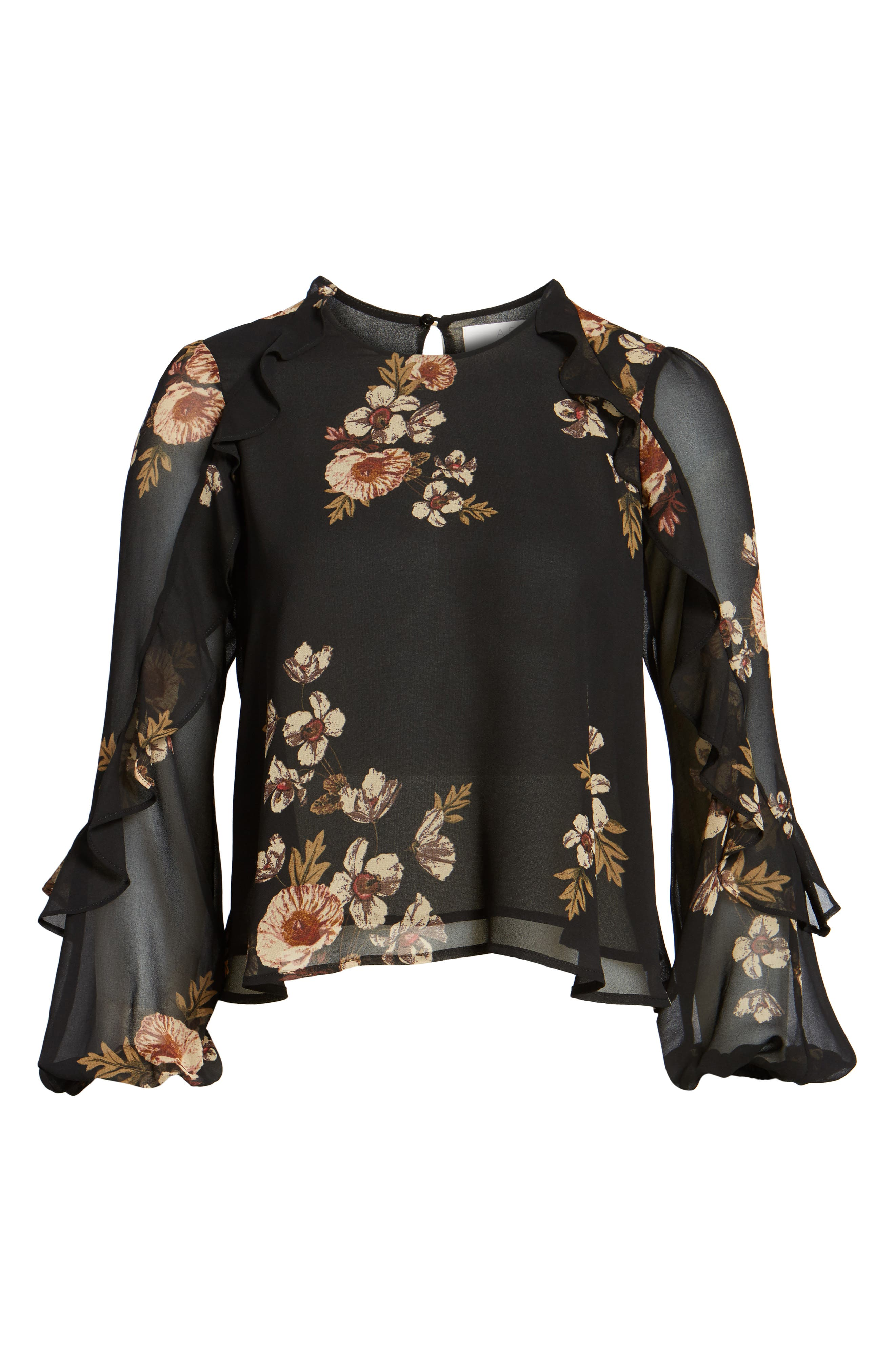 Lena Top,                             Alternate thumbnail 6, color,                             Black-Pink Floral