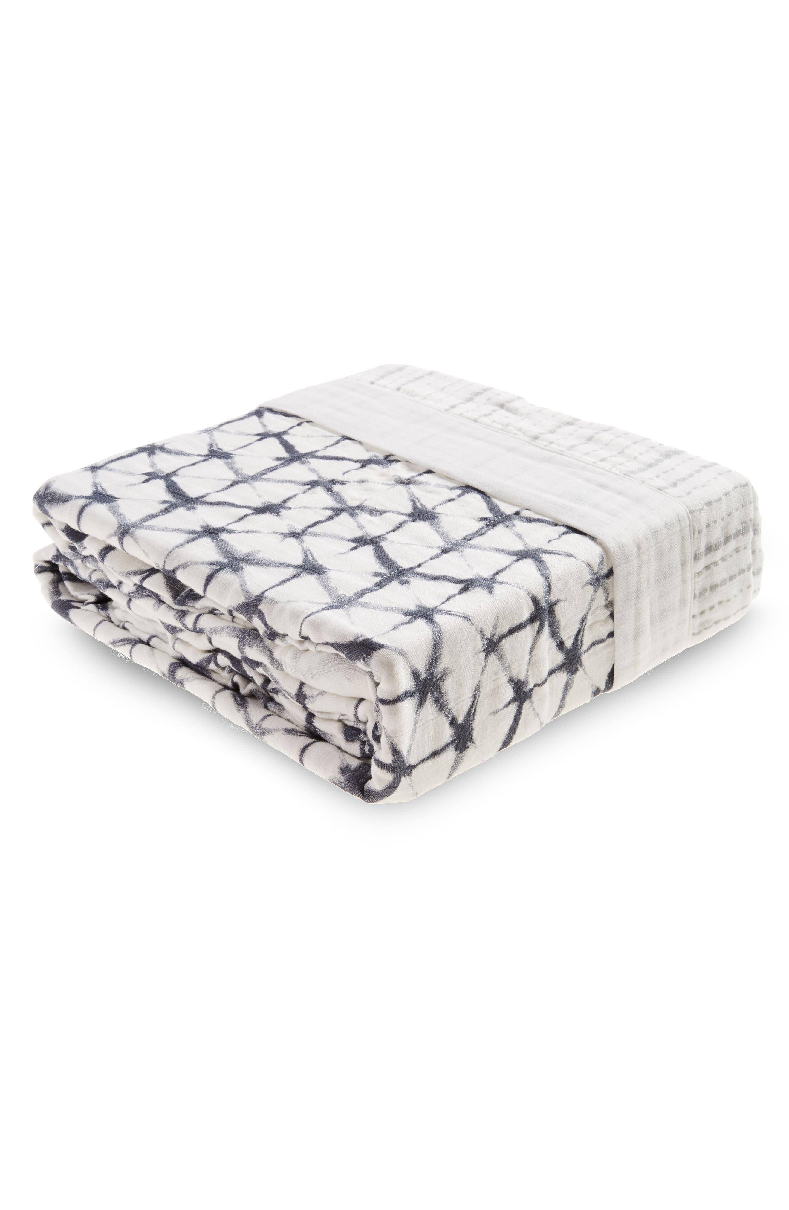 Oversize Muslin Blanket,                         Main,                         color, Pebble Shibori