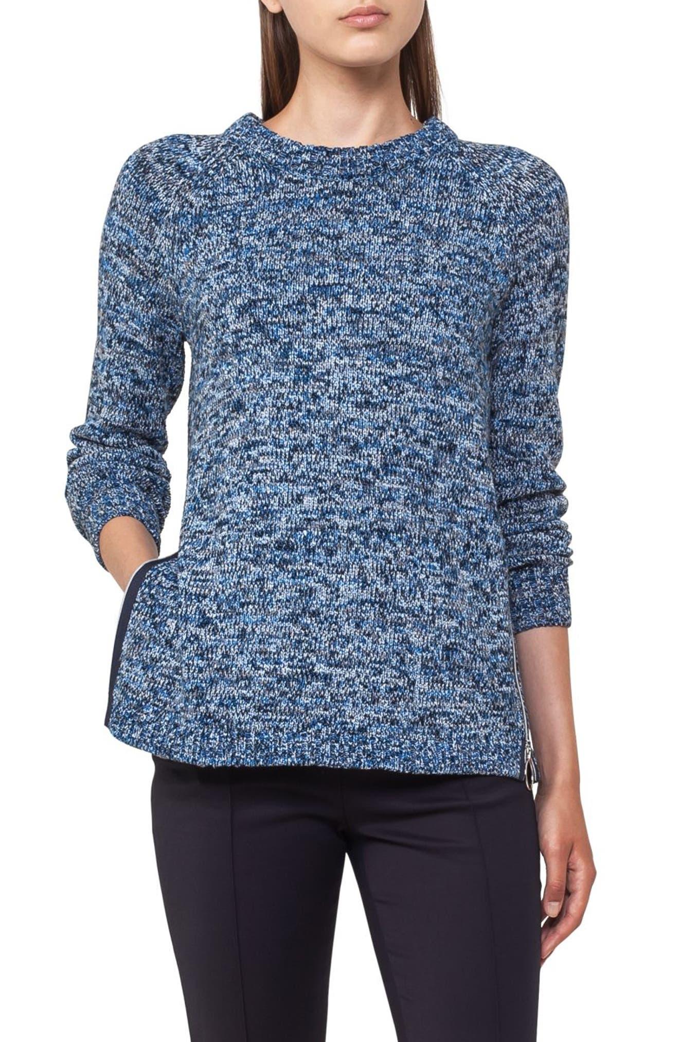Cotton Blend Knit Pullover,                             Main thumbnail 1, color,                             Indigo-Cream