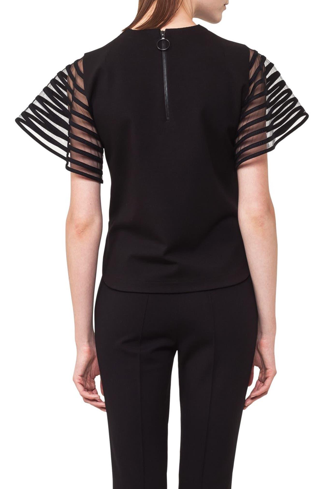 Alternate Image 2  - Akris punto Stripe Tulle Sleeve Top