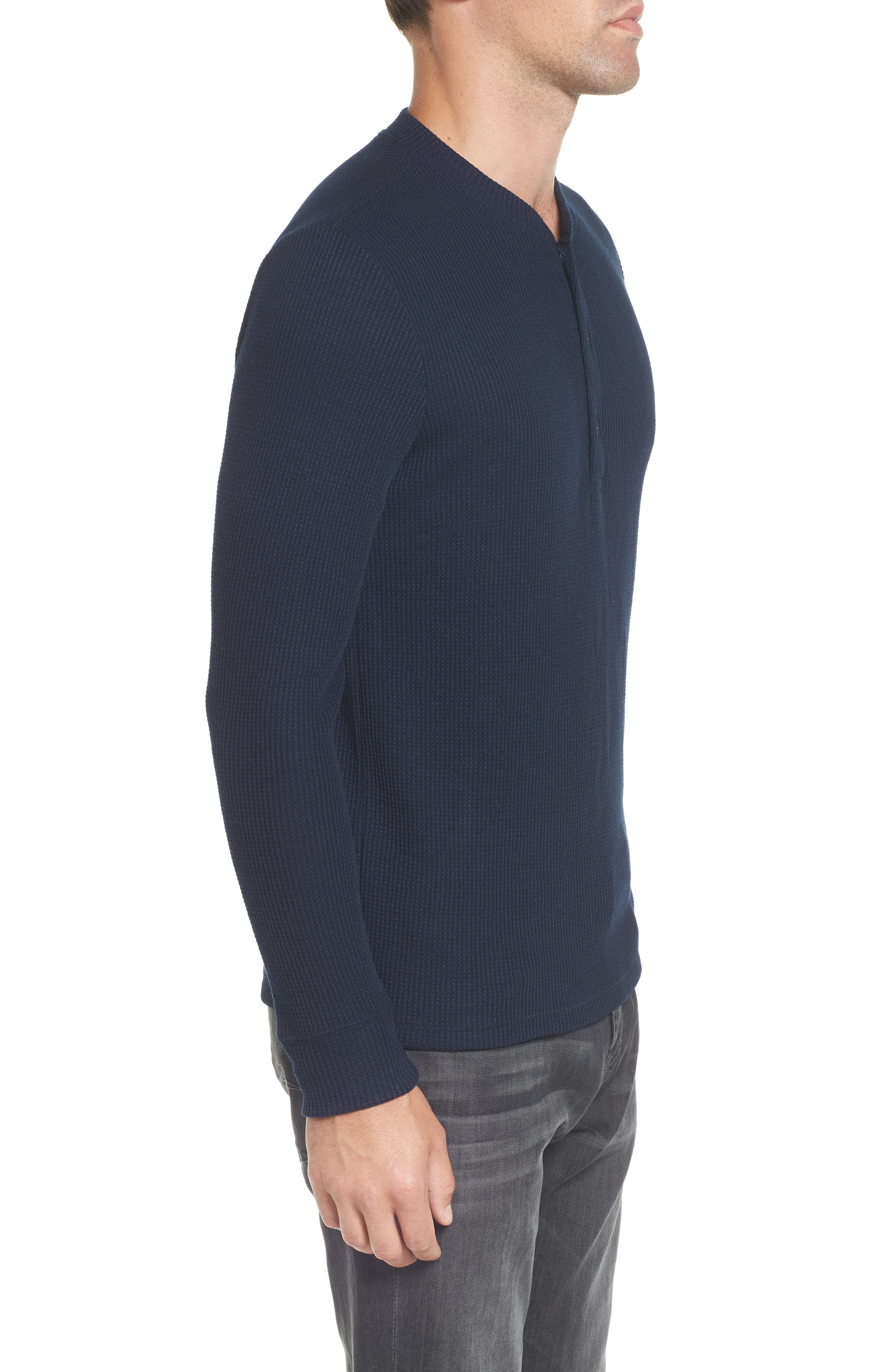 Slim Fit Long Sleeve Henley Shirt,                             Alternate thumbnail 3, color,                             Stormy Night