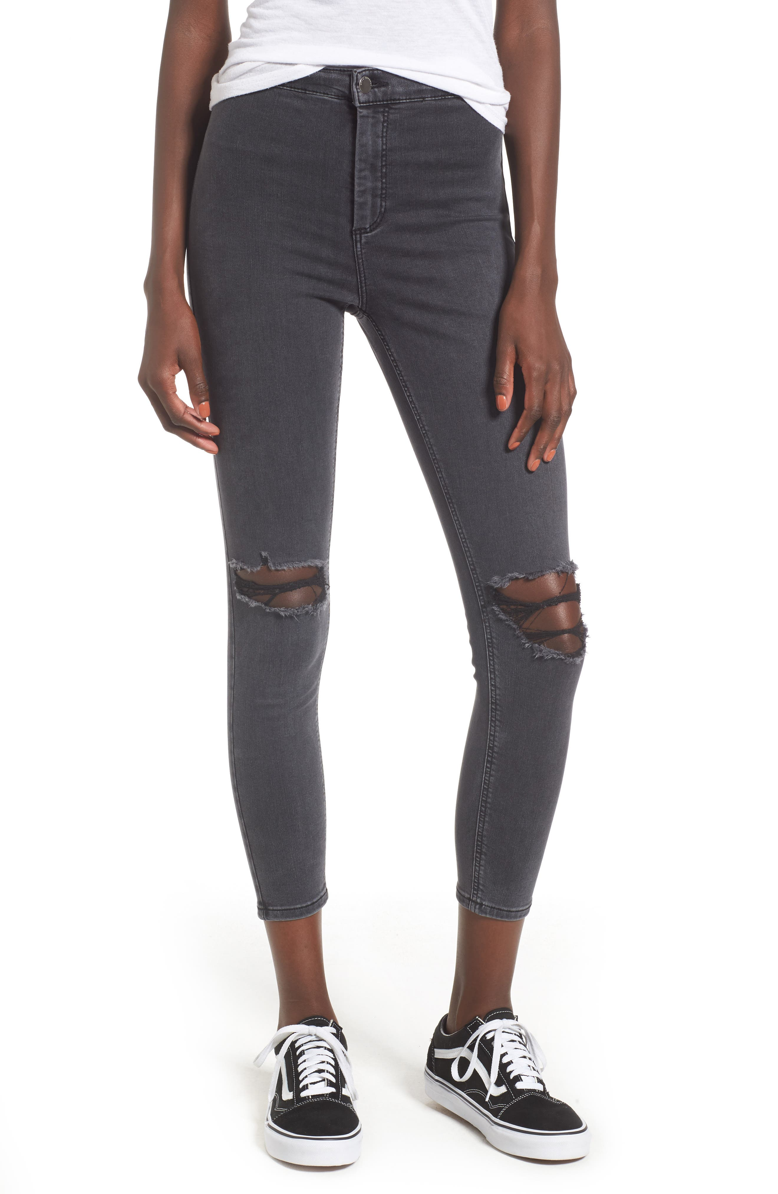 Joni Ripped Crop Skinny Jeans,                             Main thumbnail 1, color,                             Washed Black