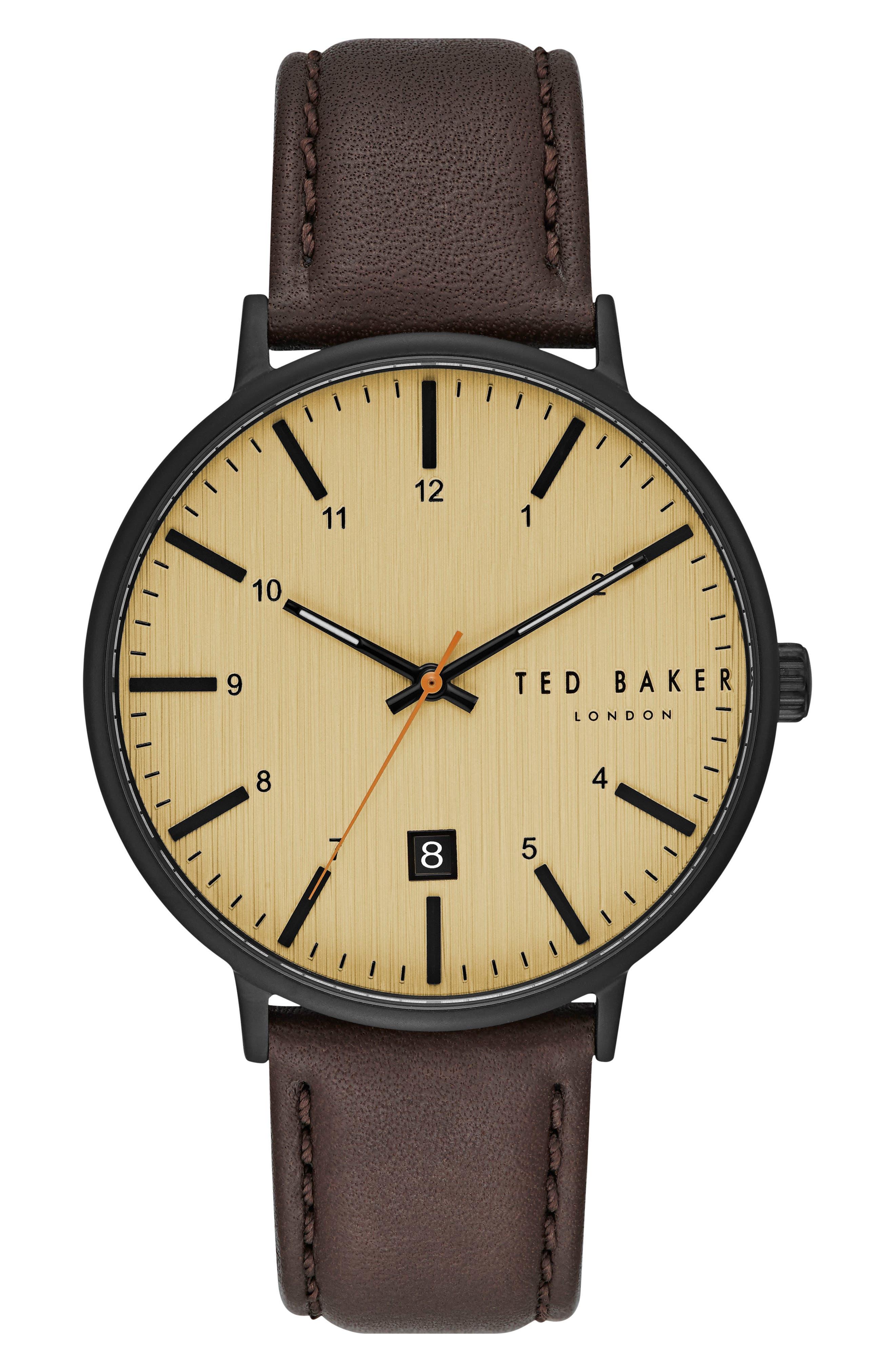 Harris Leather Strap Watch, 42mm,                         Main,                         color, Beige/ Cognac