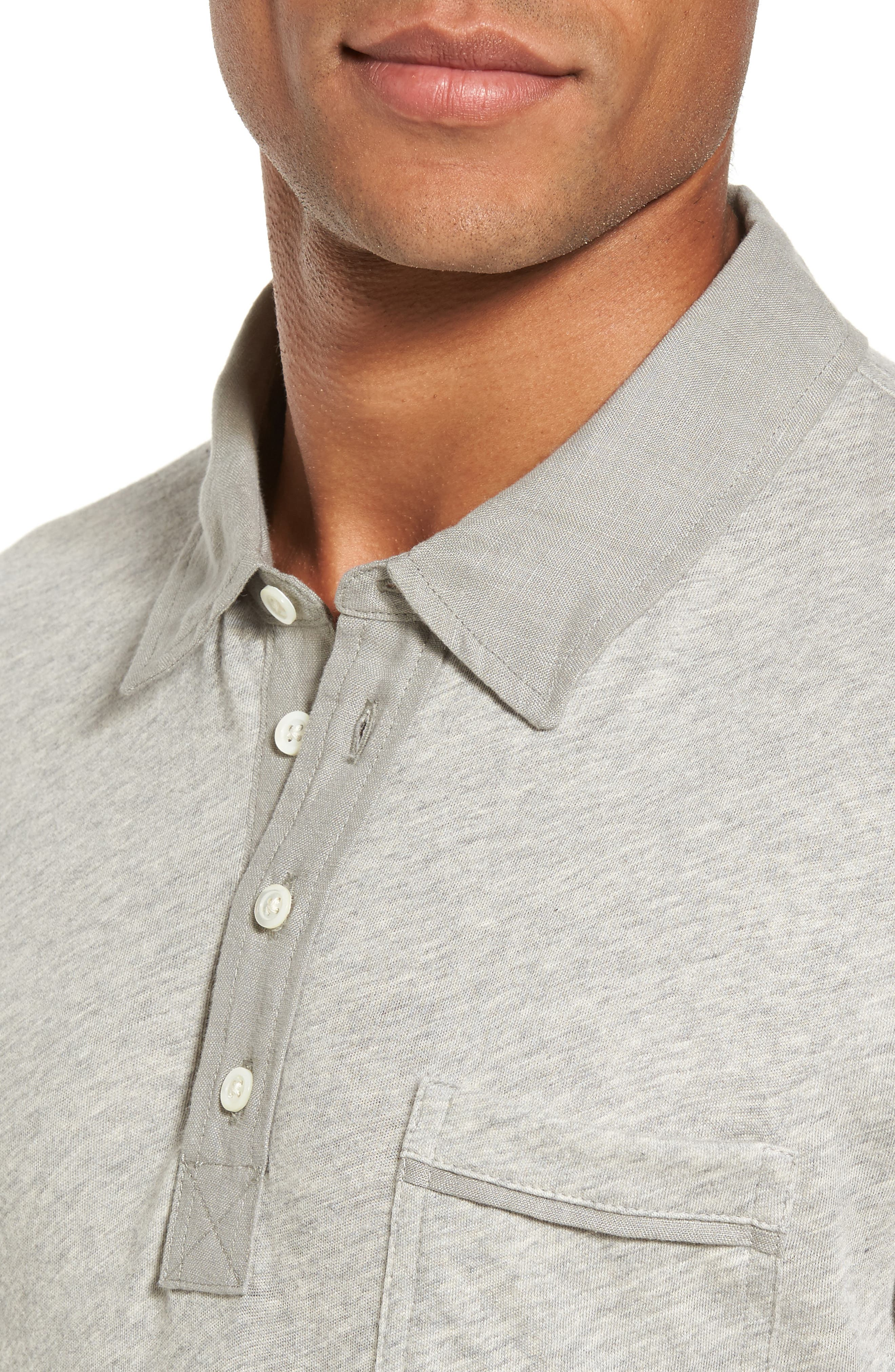 Standard Fit Jersey Polo,                             Alternate thumbnail 4, color,                             Light Heather Grey