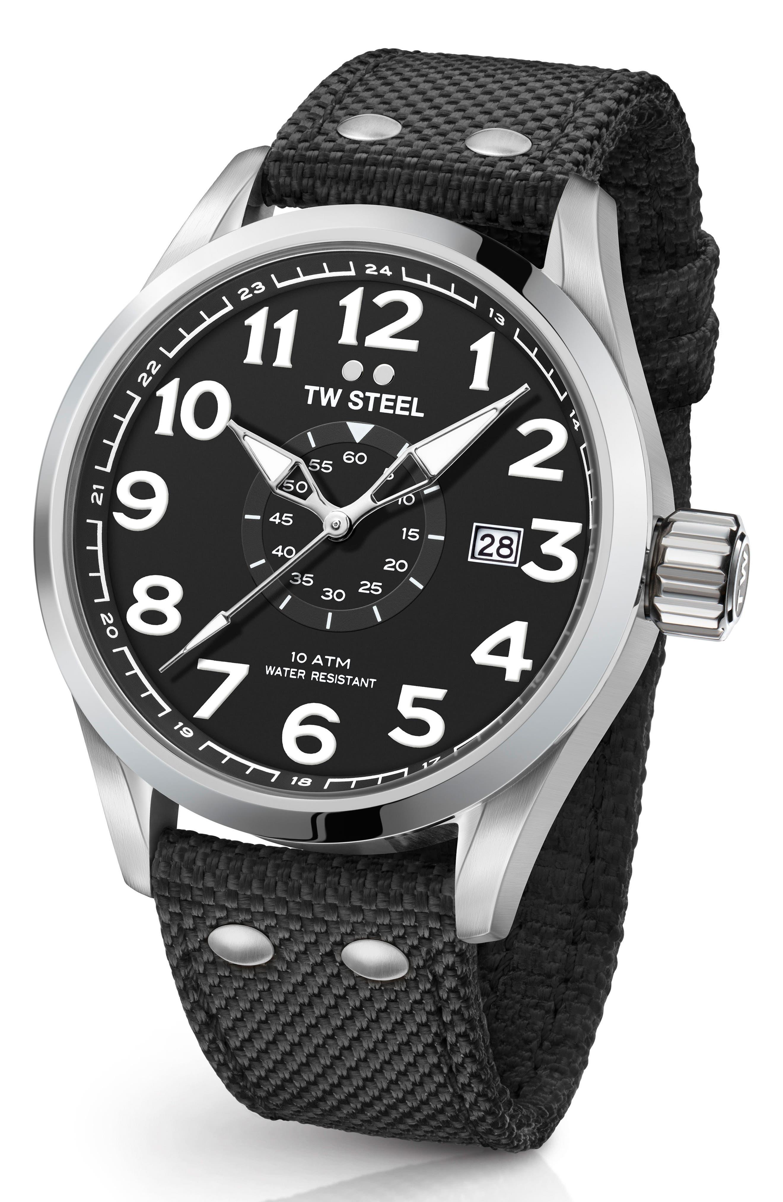 Volante Textile Strap Watch, 45mm,                             Main thumbnail 1, color,                             Black/ Silver
