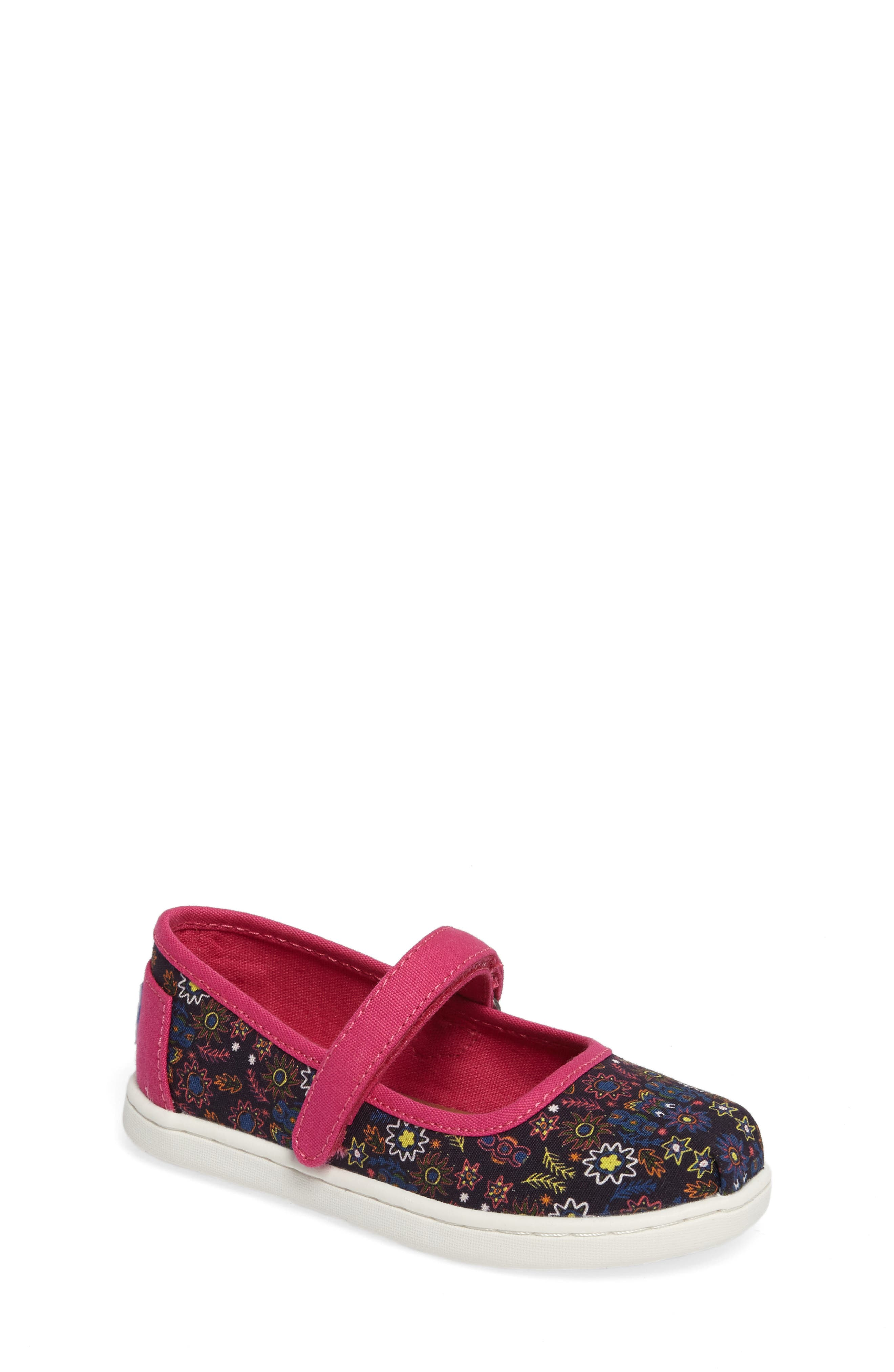 Main Image - TOMS Tiny Mary Jane Flat (Baby, Walker & Toddler)