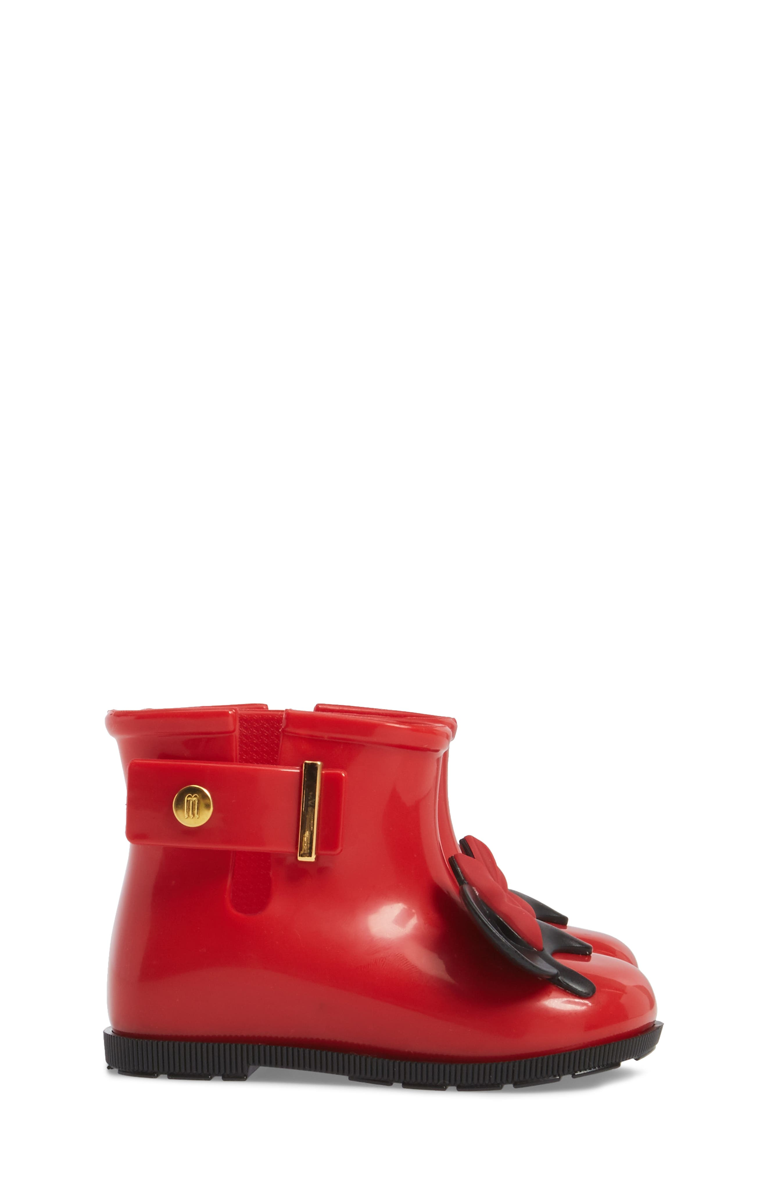 Mini Melissa Sugar Rain Disney Twins Waterproof Bootie,                             Alternate thumbnail 3, color,                             Red