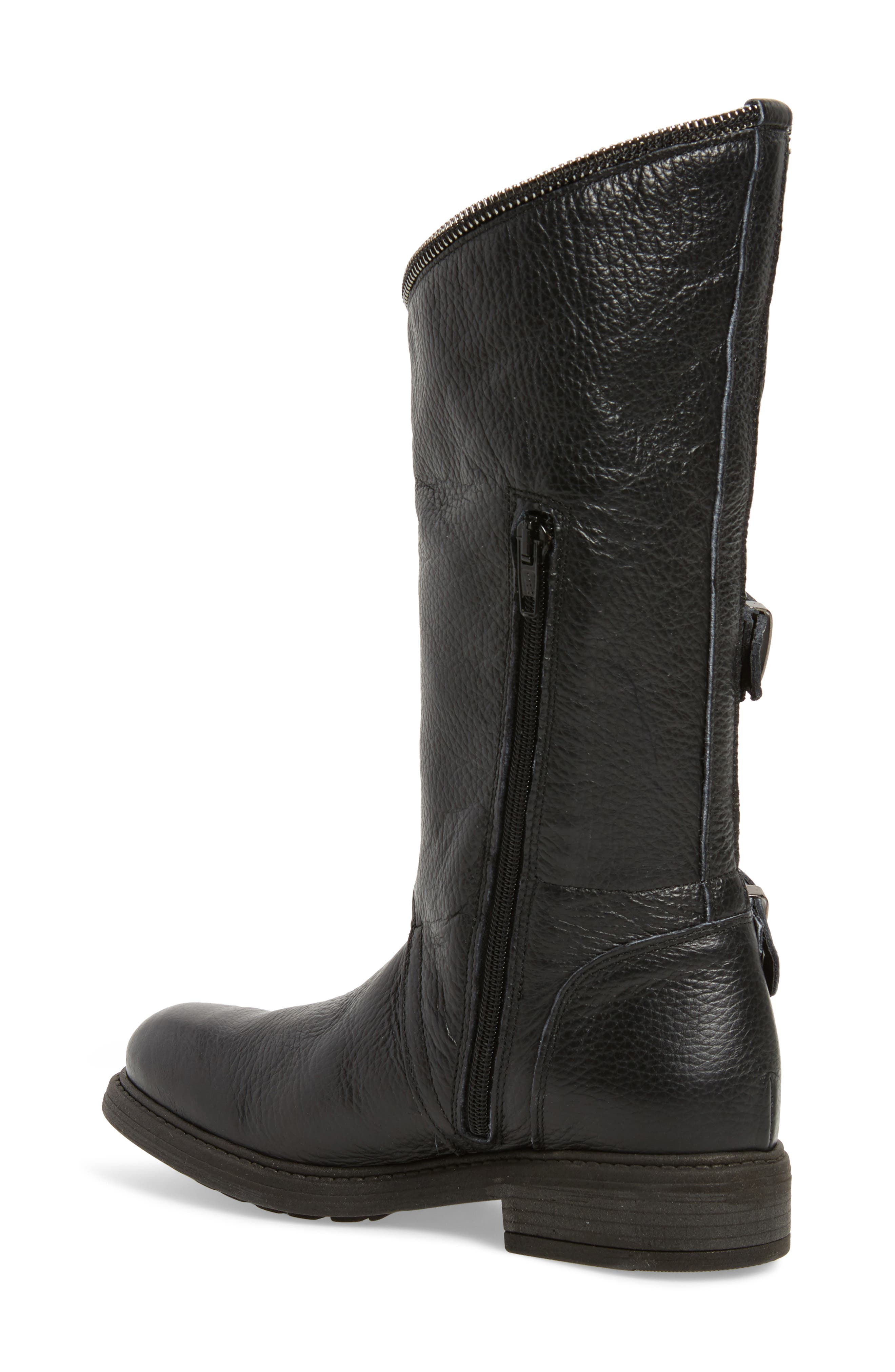 Bray Asymmetrical Zip Boot,                             Alternate thumbnail 2, color,                             Black Leather