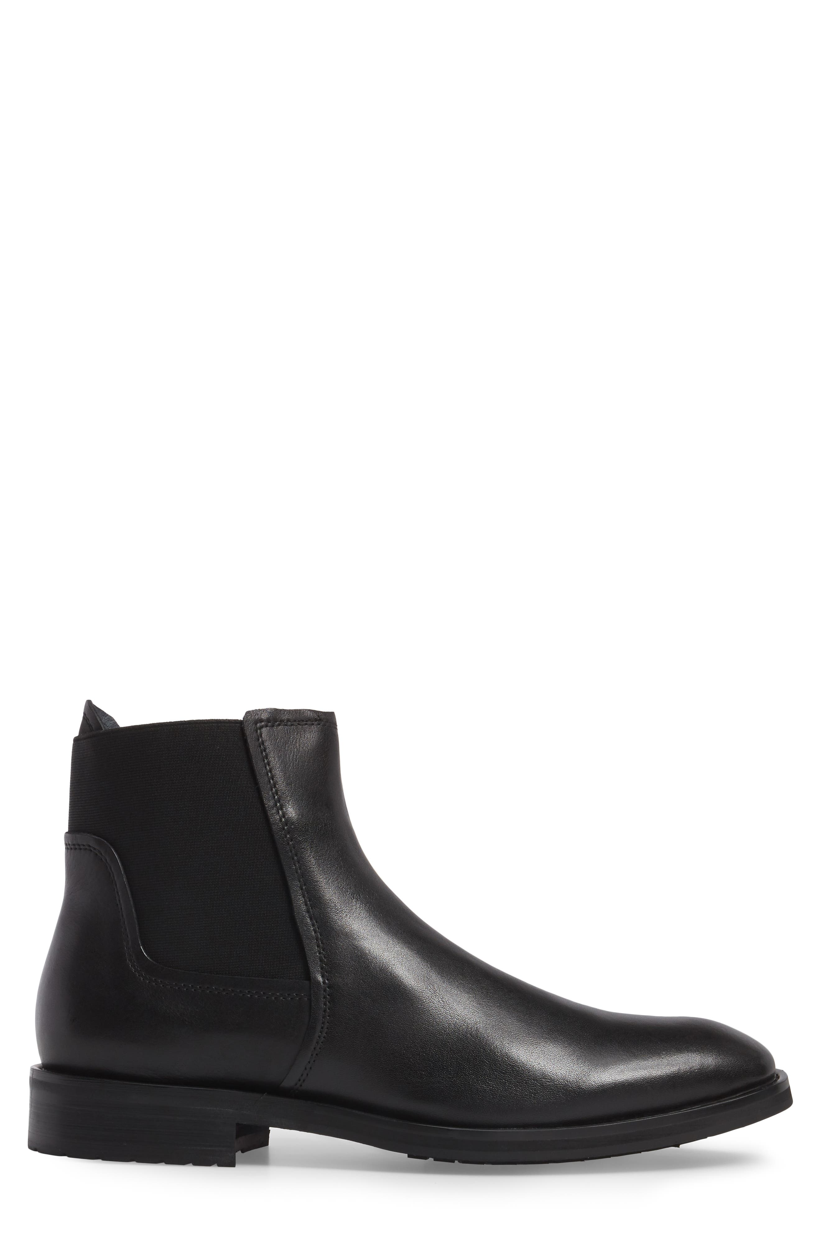 Belmont Chelsea Boot,                             Alternate thumbnail 3, color,                             Black Leather