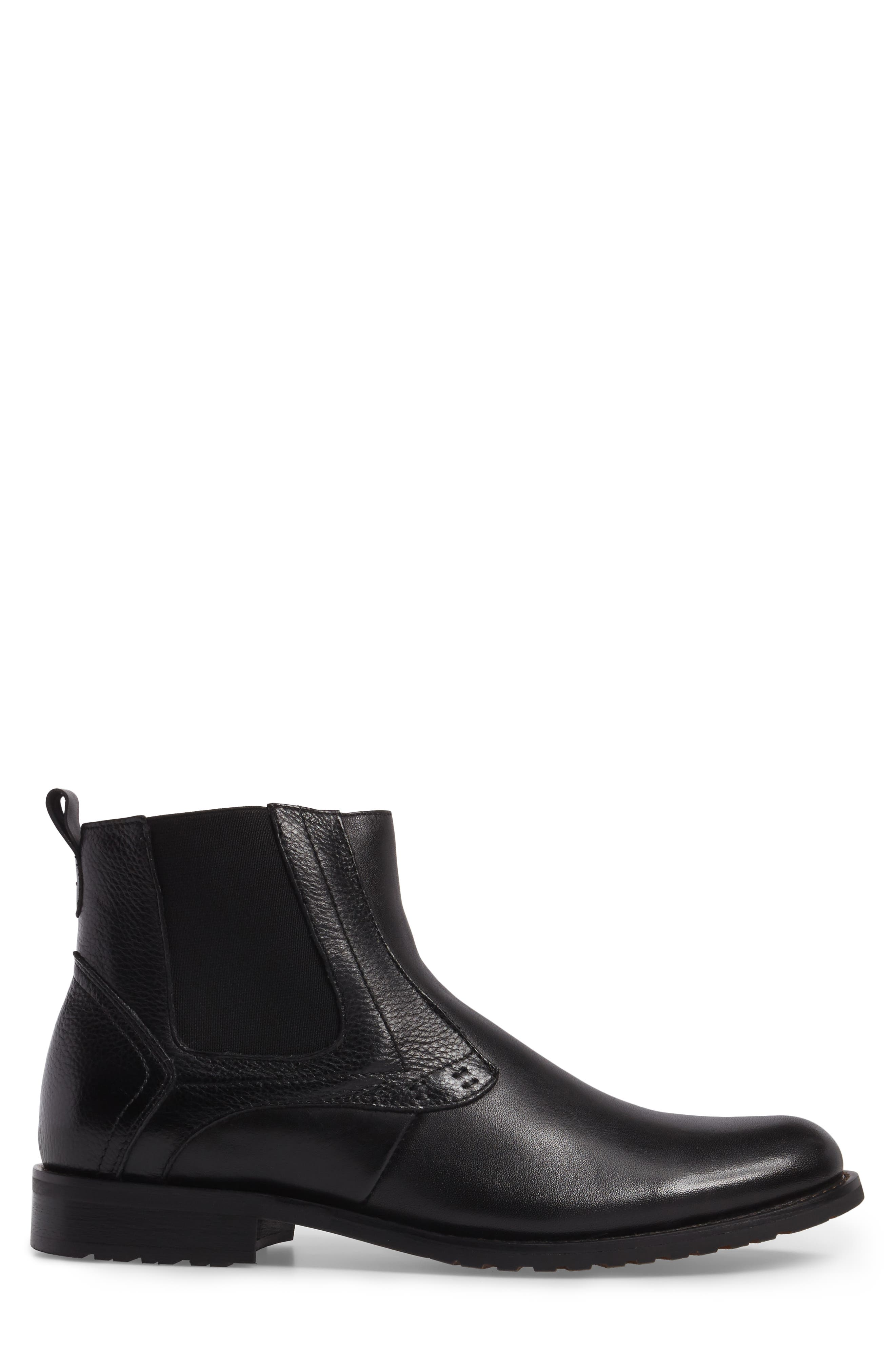 Oaks Chelsea Boot,                             Alternate thumbnail 3, color,                             Black Leather
