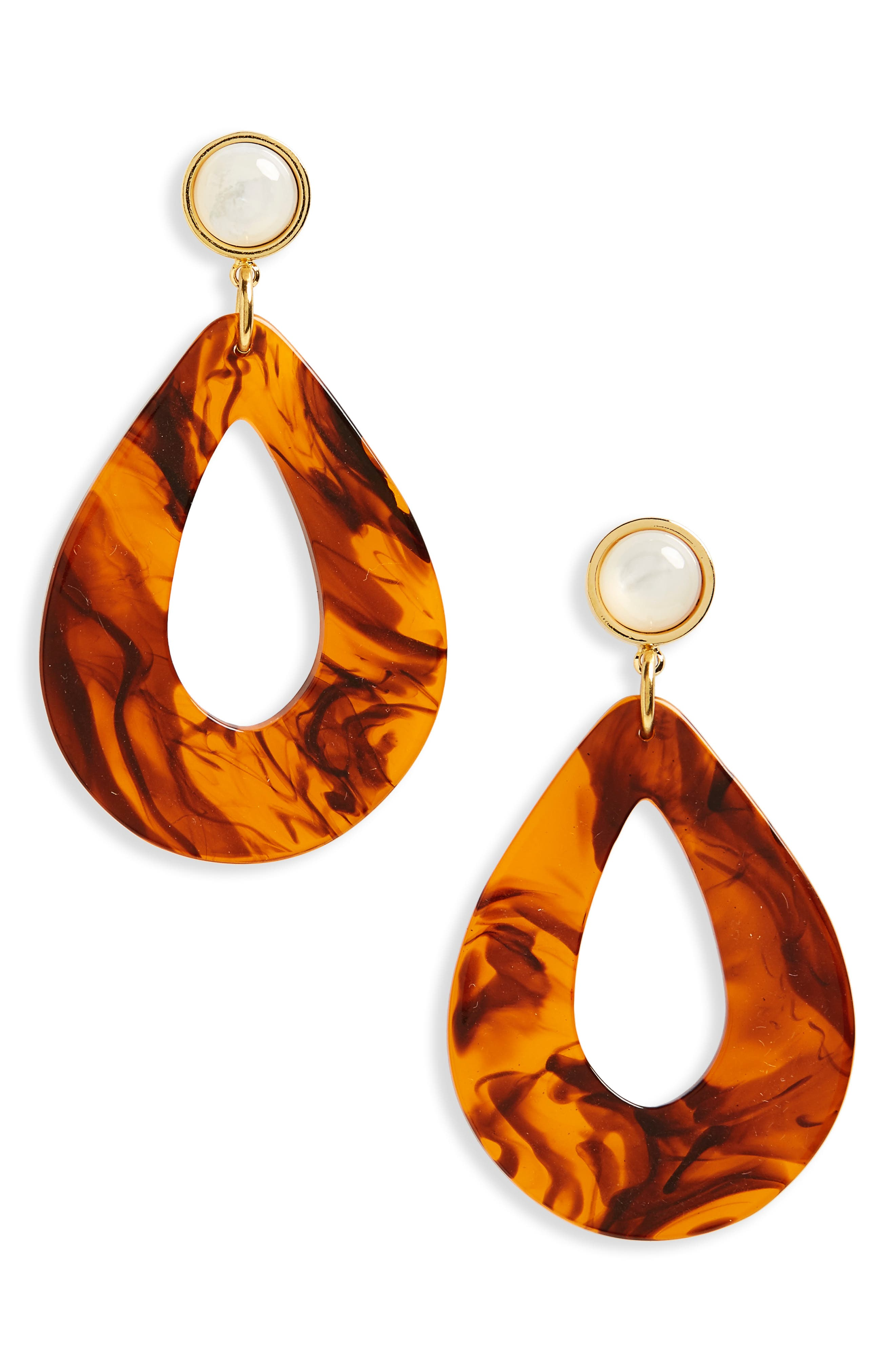 Teardrop Earrings,                         Main,                         color, Tortoise