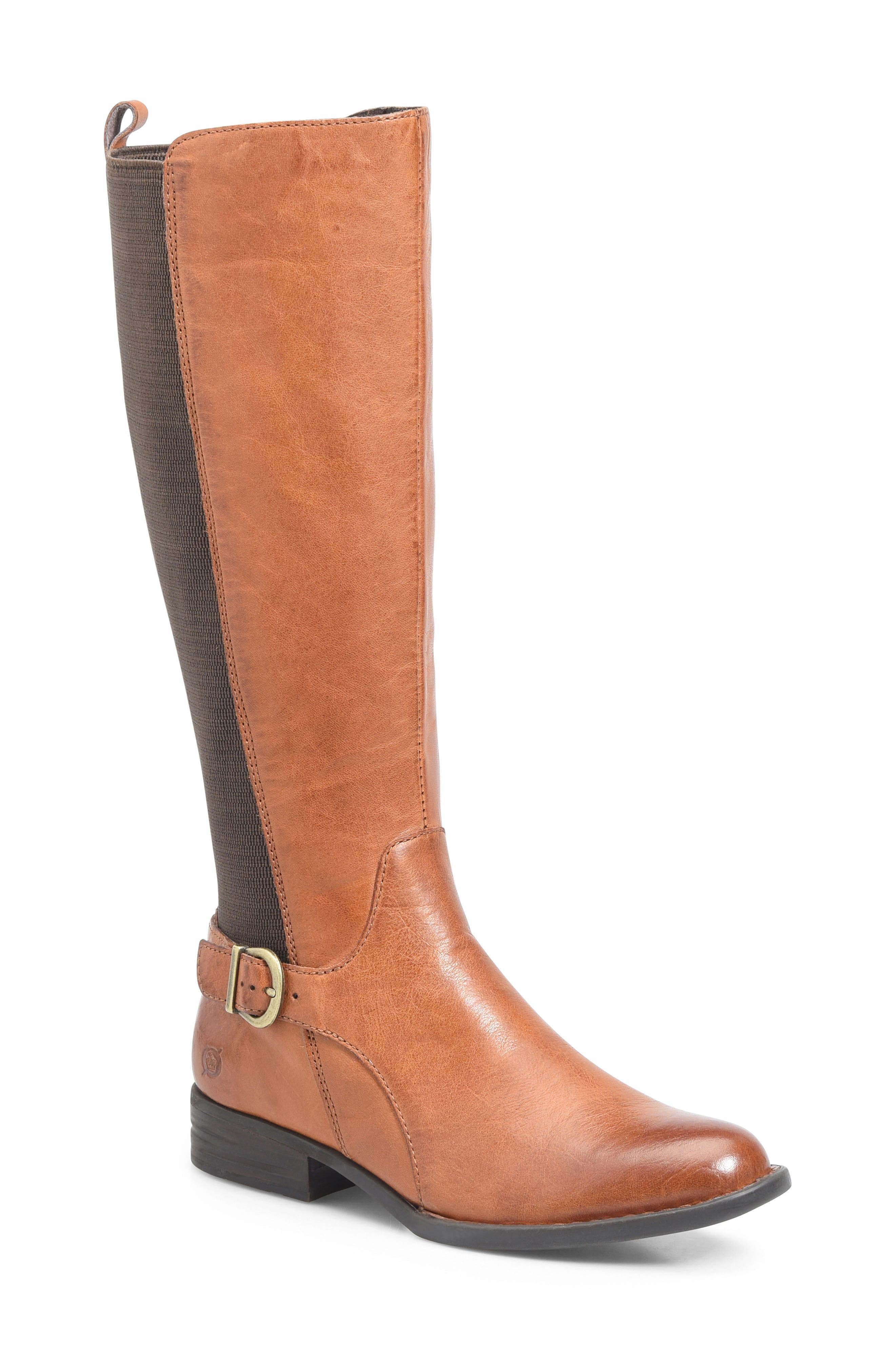 Campbell Knee High Elastic Back Boot,                             Main thumbnail 1, color,                             Tan Leather