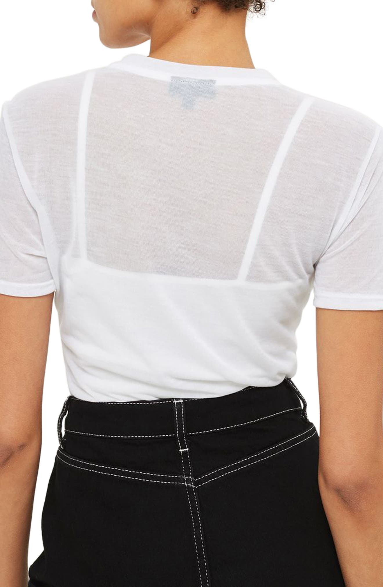 Alternate Image 3  - Topshop Sheer T-Shirt Bodysuit