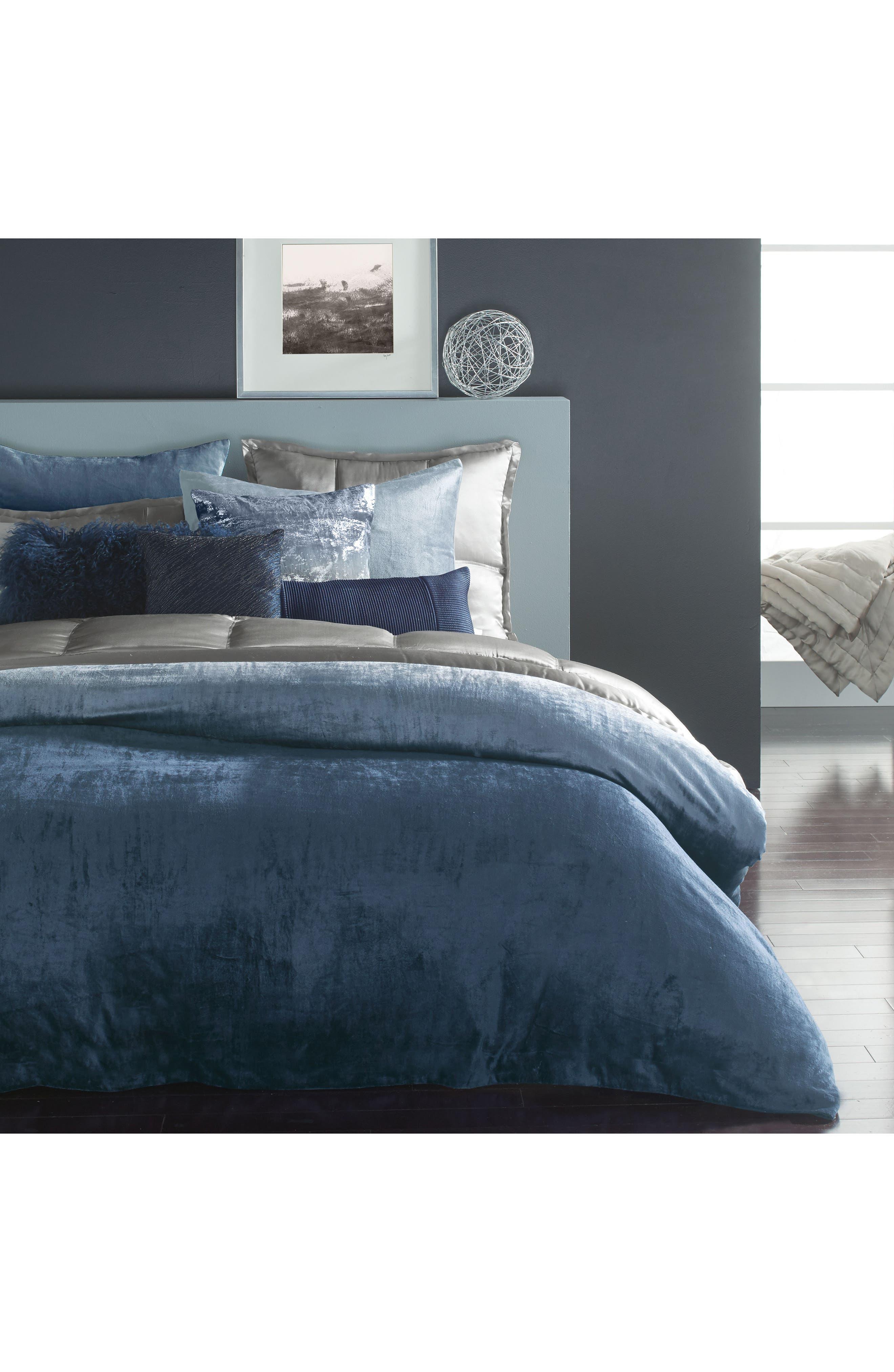Ocean Corded Silk Accent Pillow,                             Alternate thumbnail 3, color,                             Navy