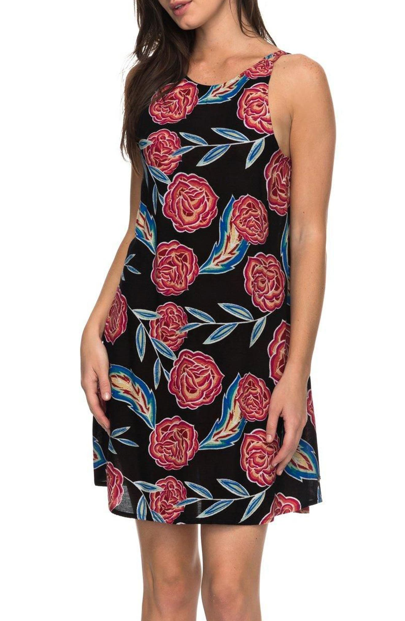 Sunburnt Land Shift Dress,                             Main thumbnail 1, color,                             Anthracite Mexican Roses