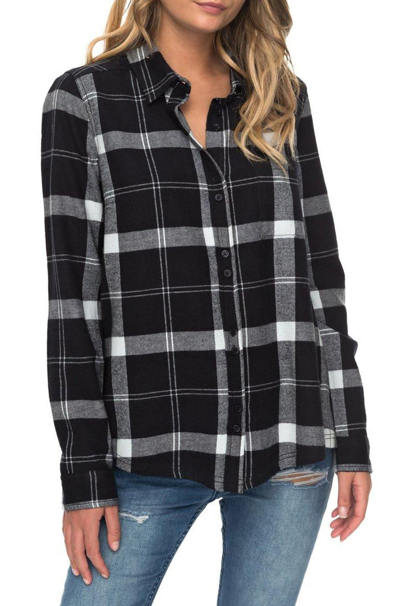 Heavy Feelings Plaid Cotton Shirt,                             Main thumbnail 1, color,                             Checked Plaid Combo Anthracite