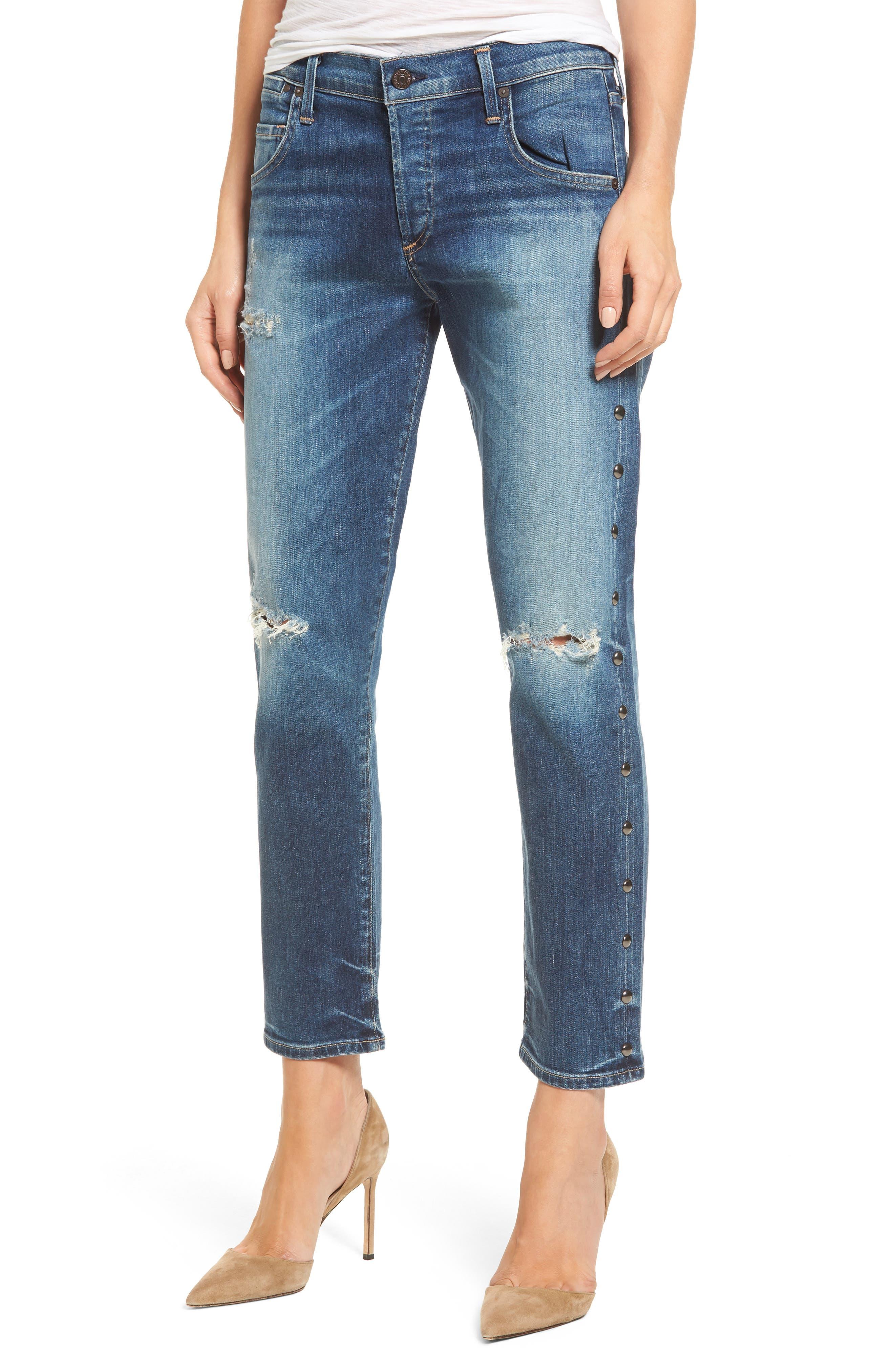 Emerson Slim Boyfriend Jeans,                             Main thumbnail 1, color,                             Studded Stetson